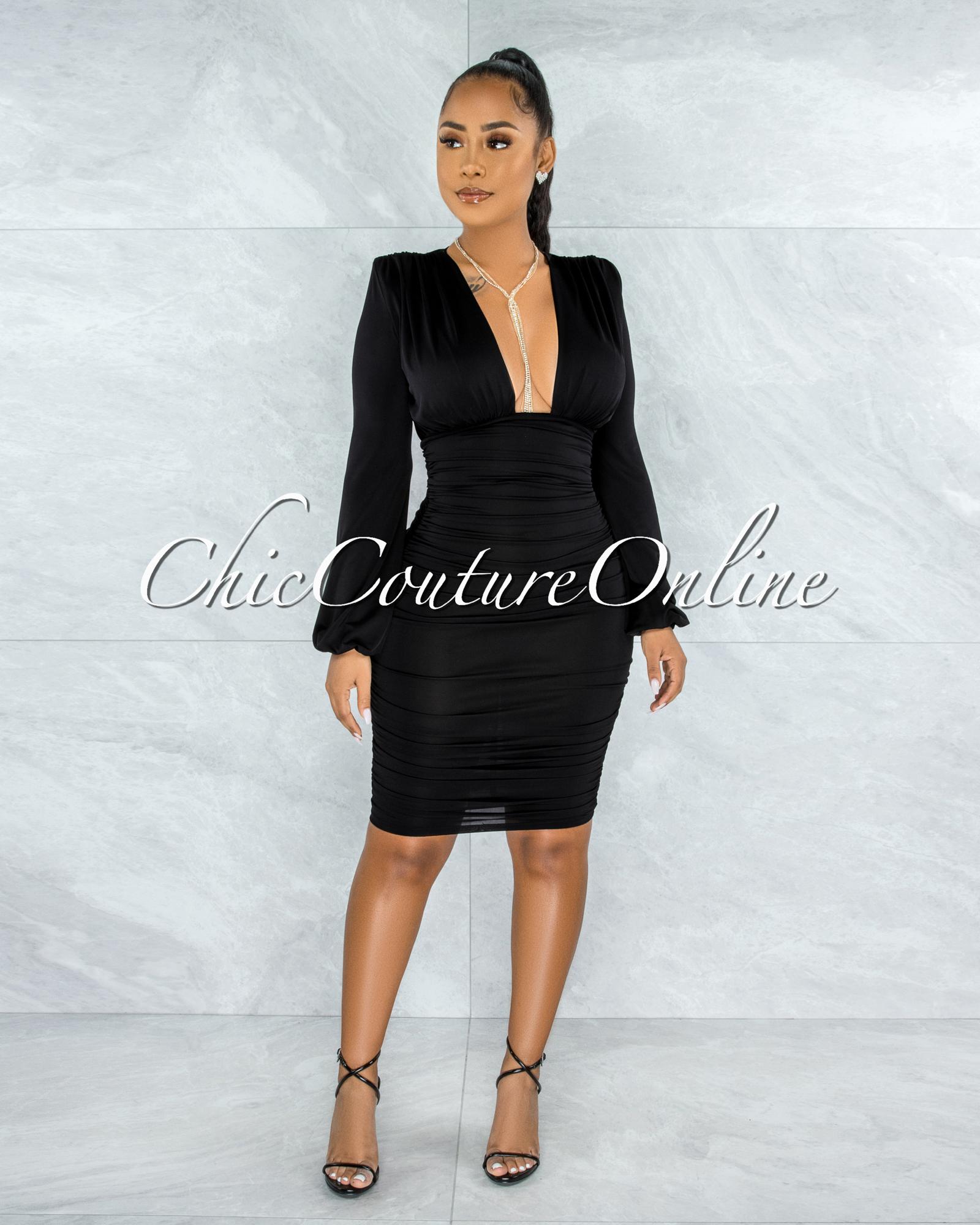 Veata Black Ruched Sides Deep-V Neckline Midi Dress