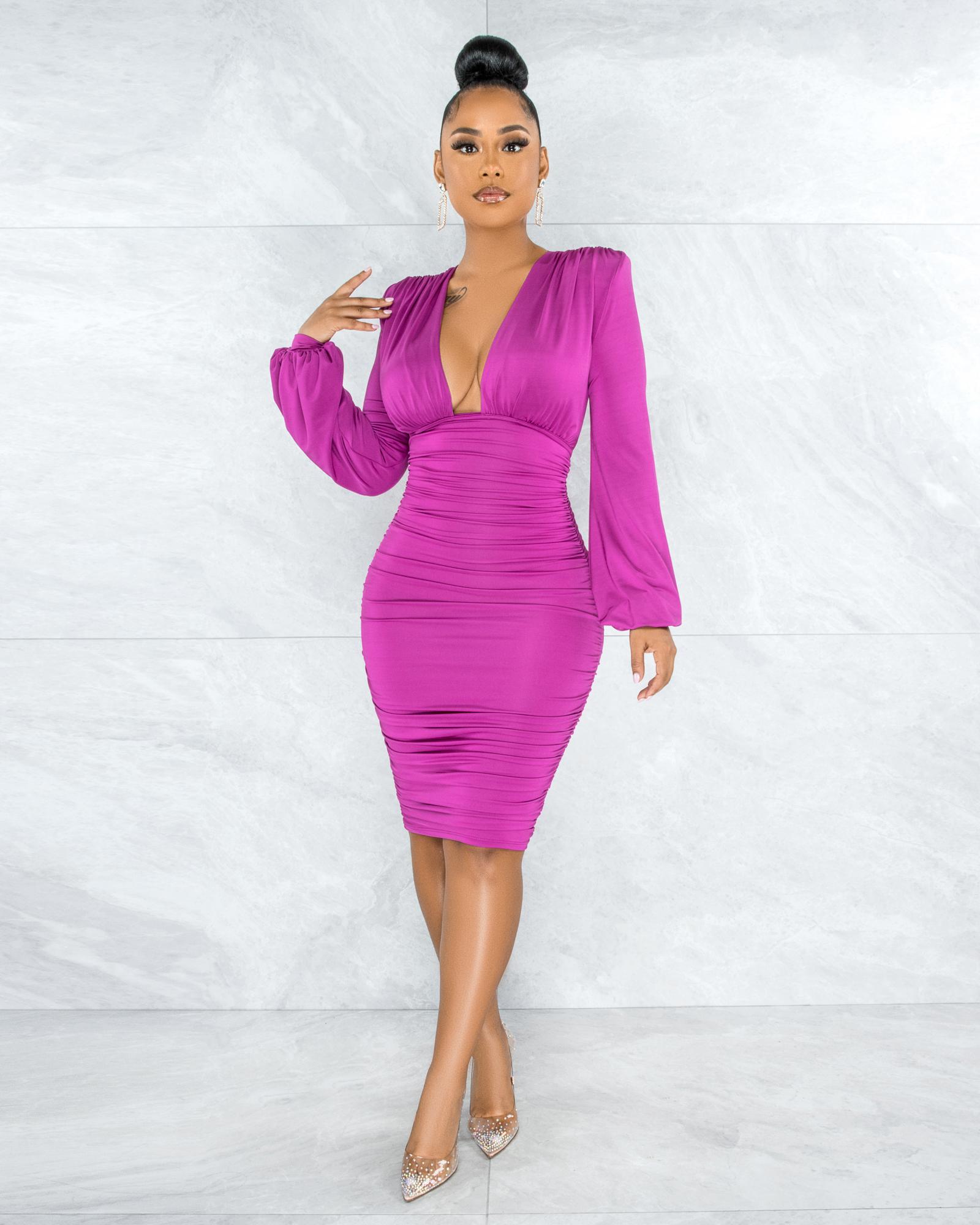 Veata Magenta Ruched Sides Deep-V Neckline Midi Dress