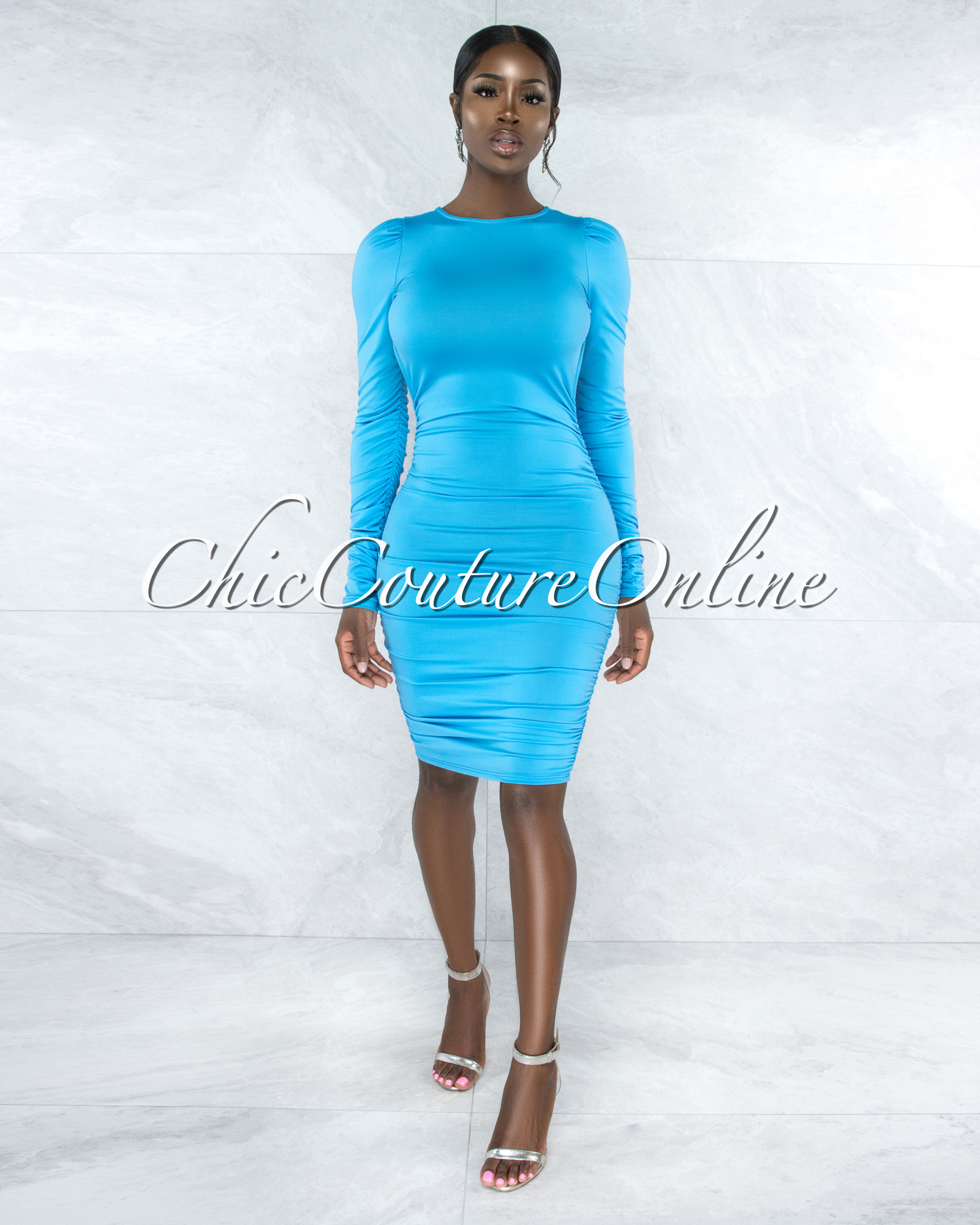 Crandell Sky Blue Ruched Sides Open Back Midi Dress