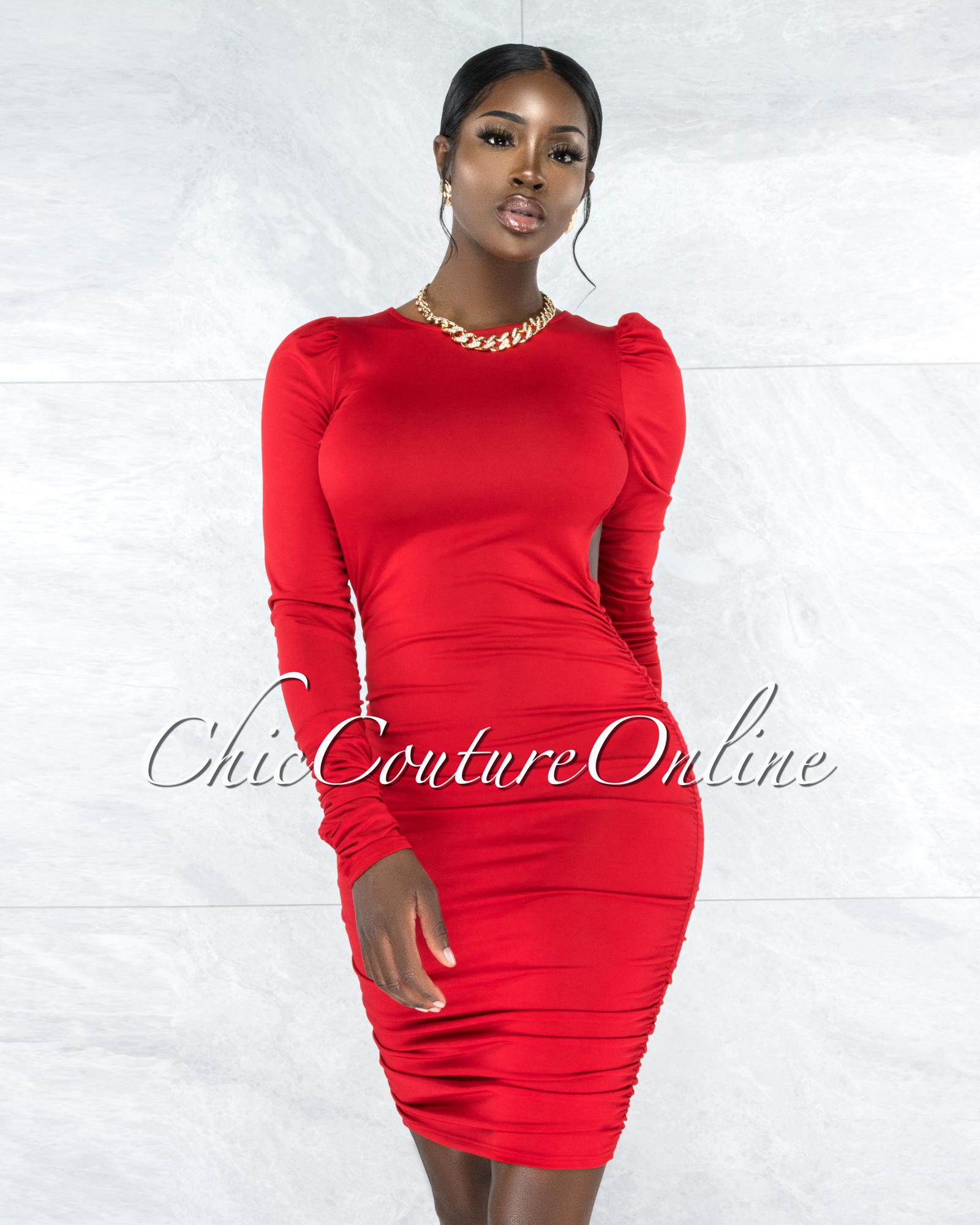 Crandell Red Ruched Sides Open Back Midi Dress