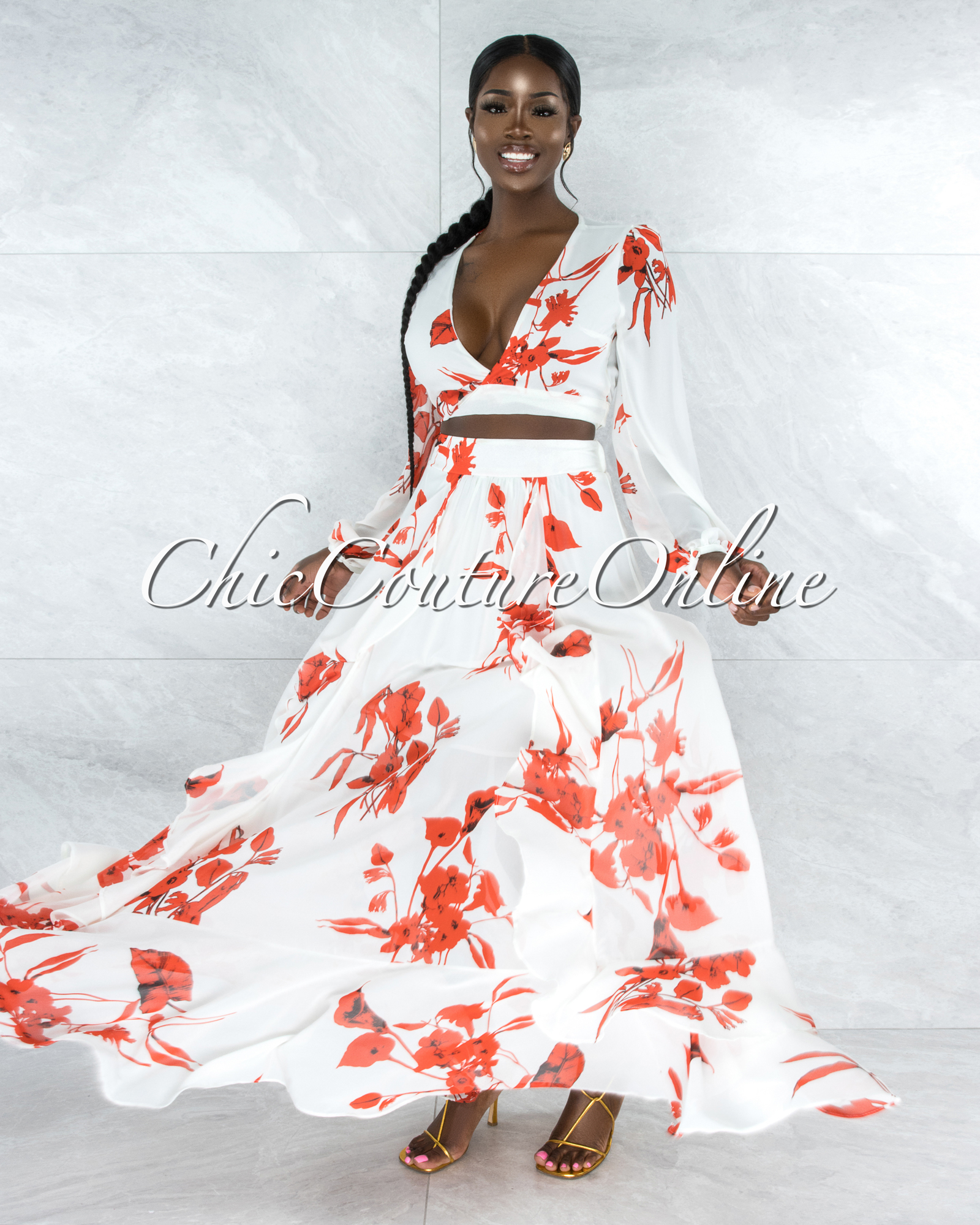 Maninder Ivory Red Floral Print Top & Maxi Skirt Set
