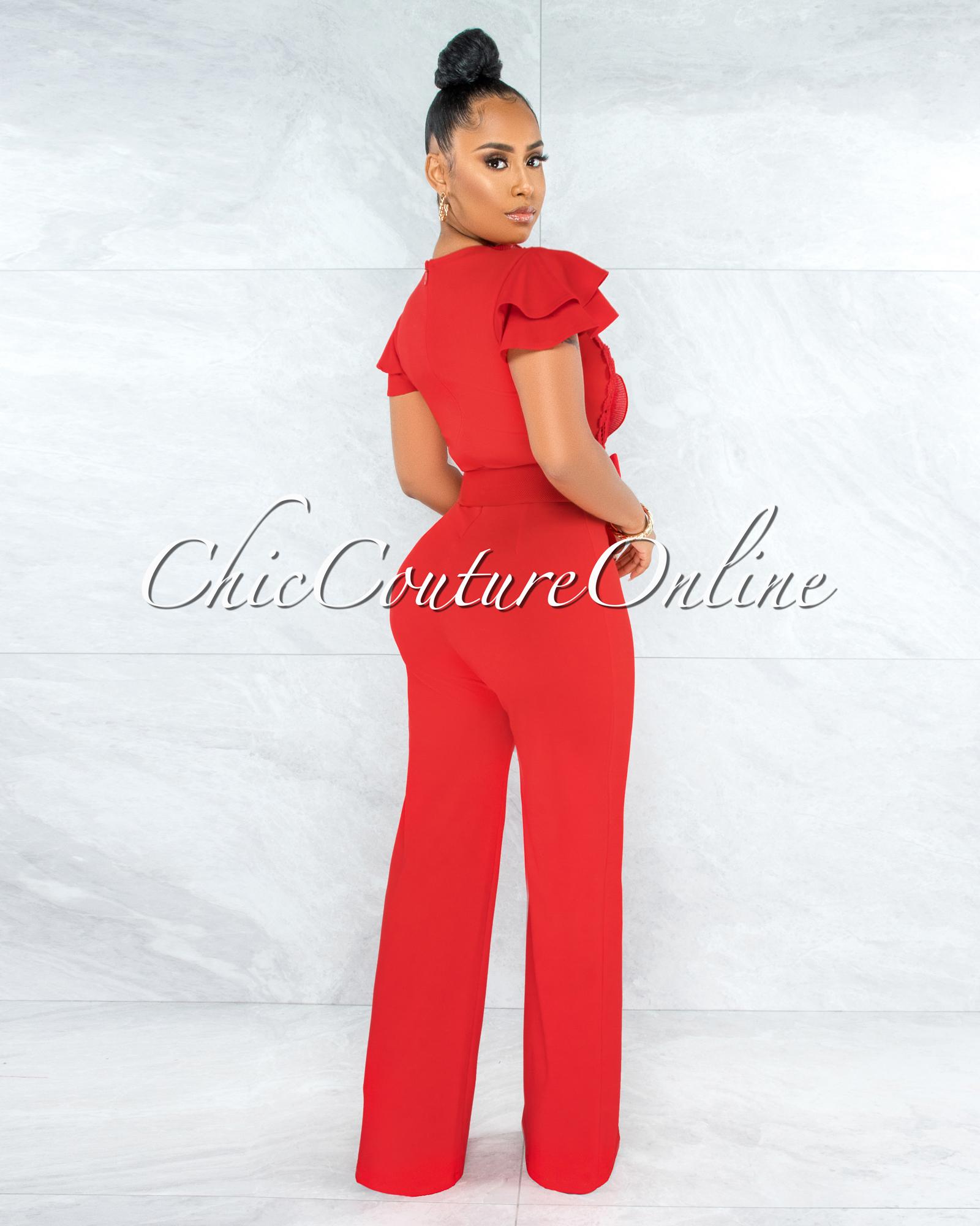 Kasturi Red Lace Crochet Bow Accent Belt Jumpsuit