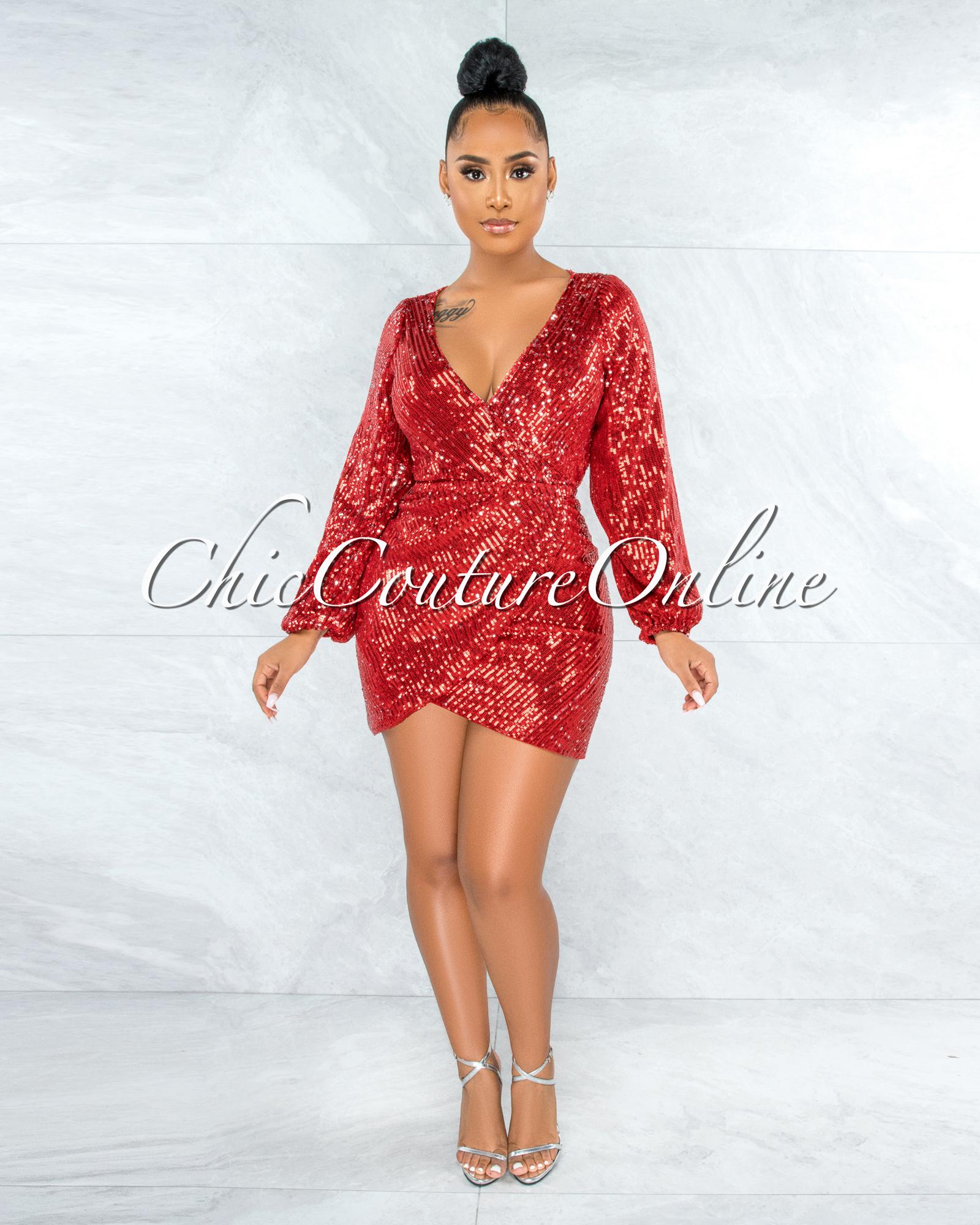 Assaggi Red Silver Sequins Open Back Mini Dress