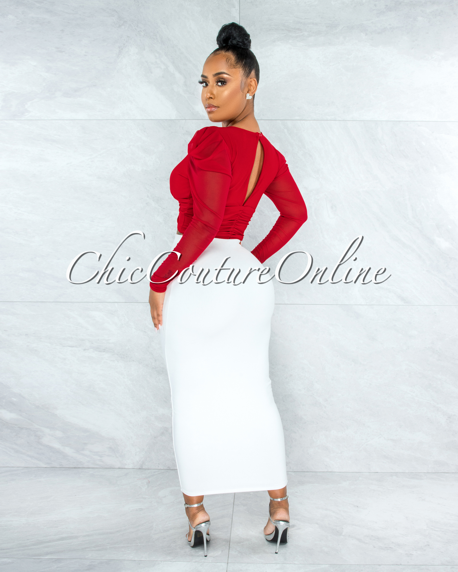 Branson Red Front Ruched Key-Hole Crop Mesh Top