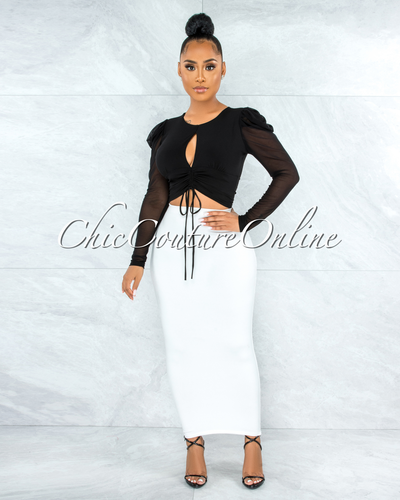 Branson Black Front Ruched Key-Hole Crop Mesh Top