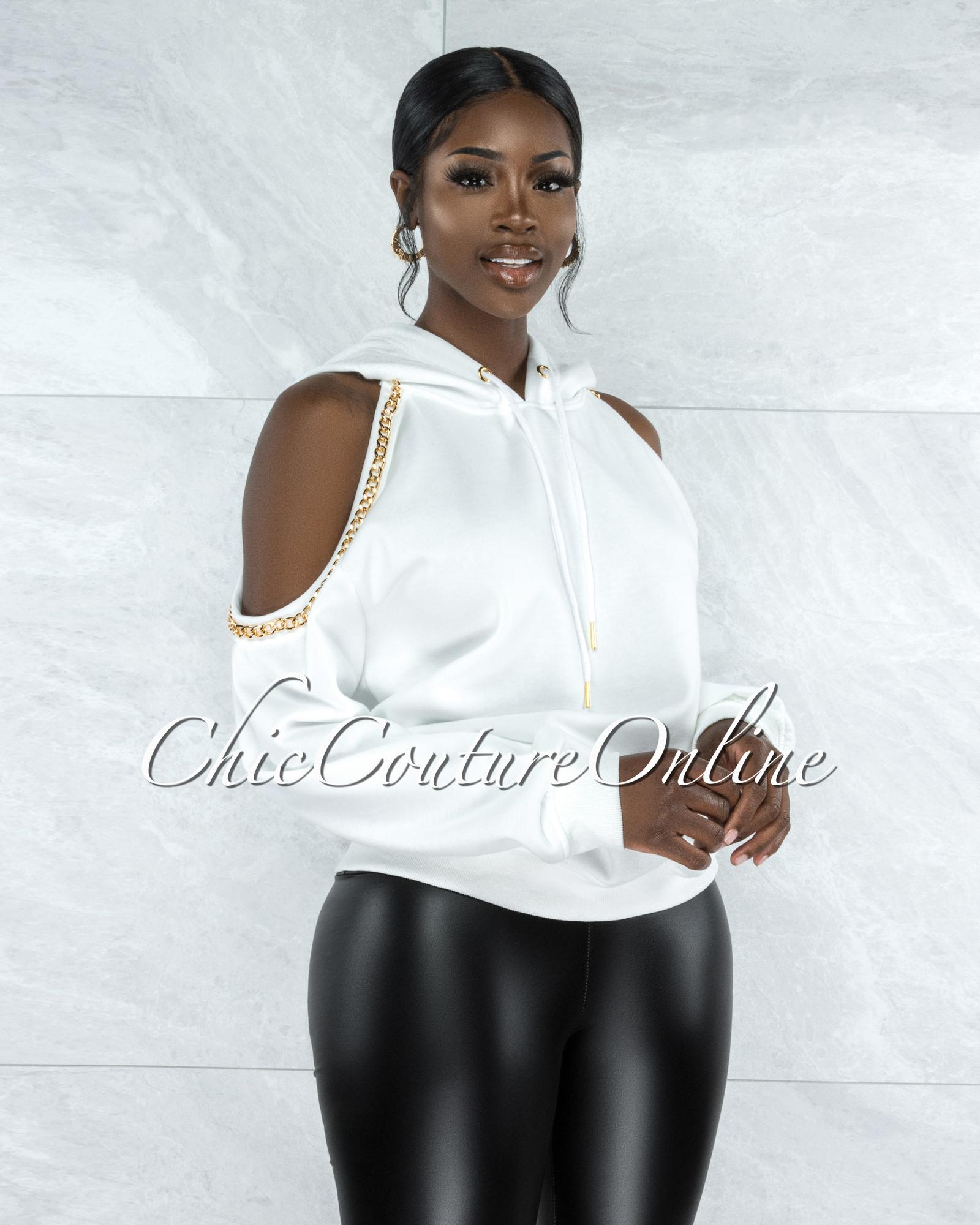 Crisanta Off-White Gold Link Detail Cold Shoulder Sweater
