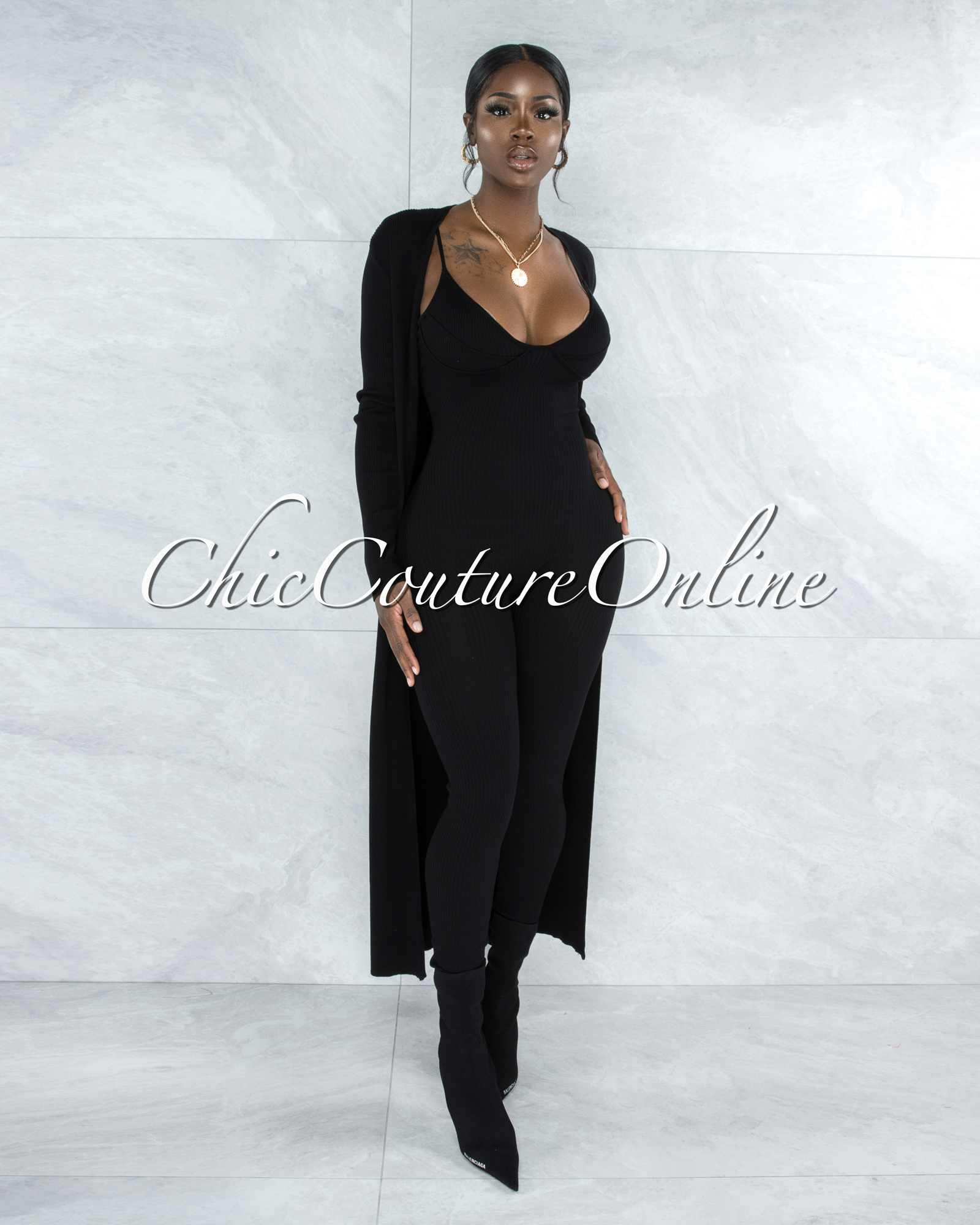 Chasia Black Ribbed Jumpsuit & Duster Set