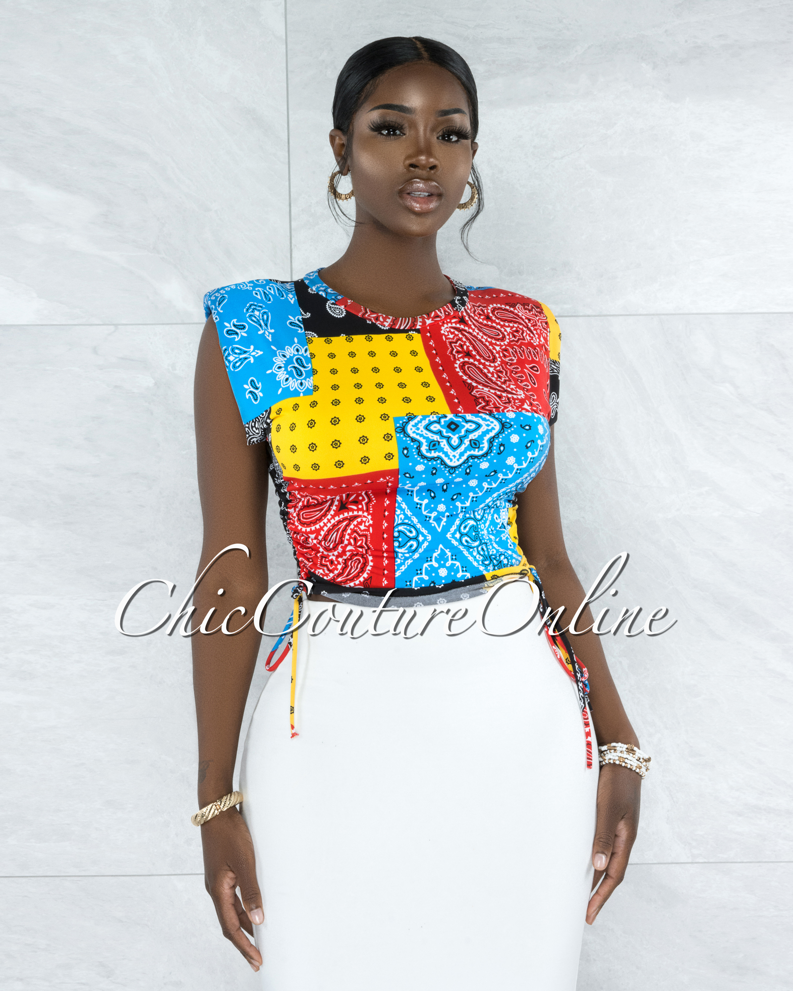 Vatusia Multi-Color Print Padded Shoulders Ruched Top