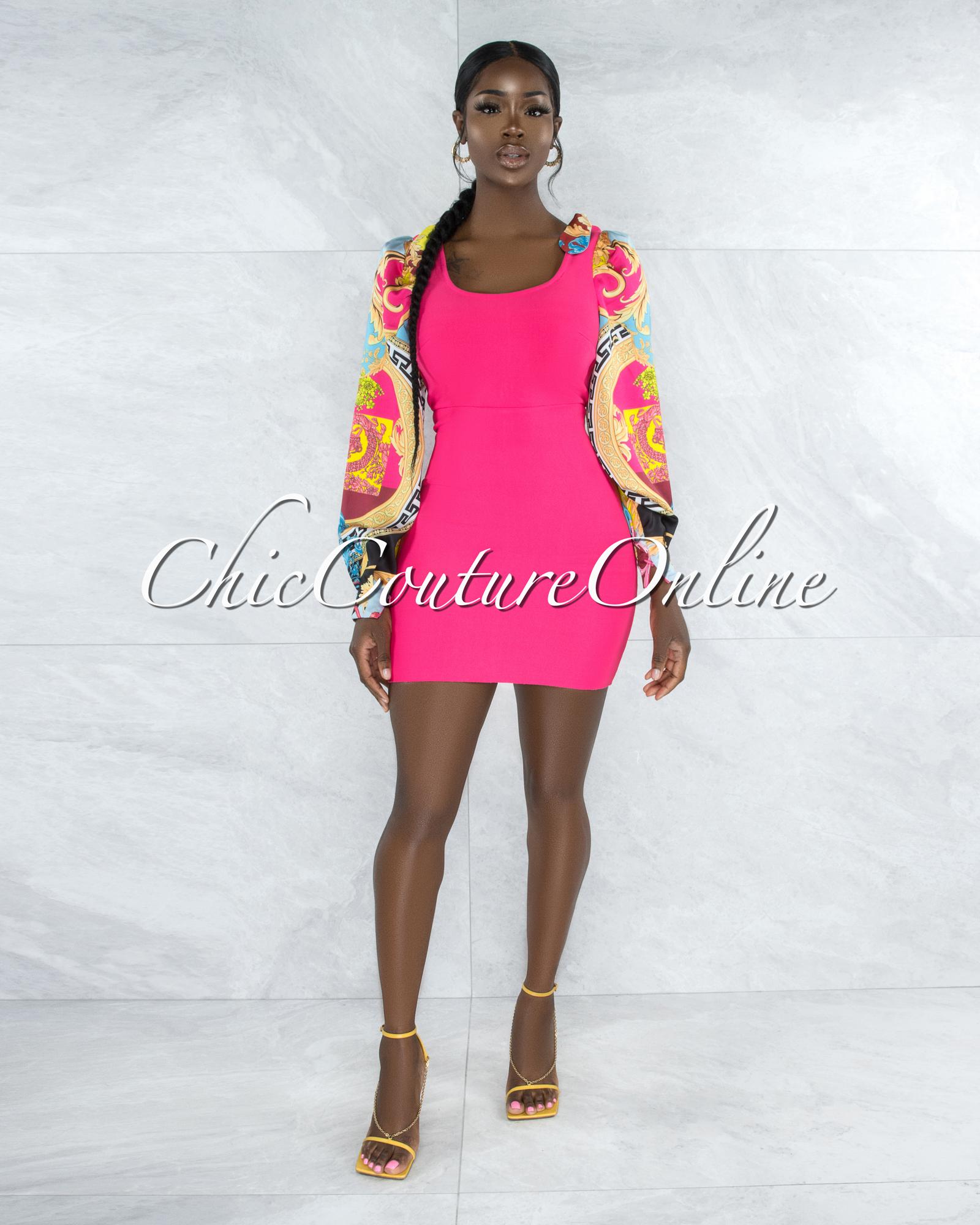 Poetry Hot Pink Multi-Color Print Sleeves Bandage Dress