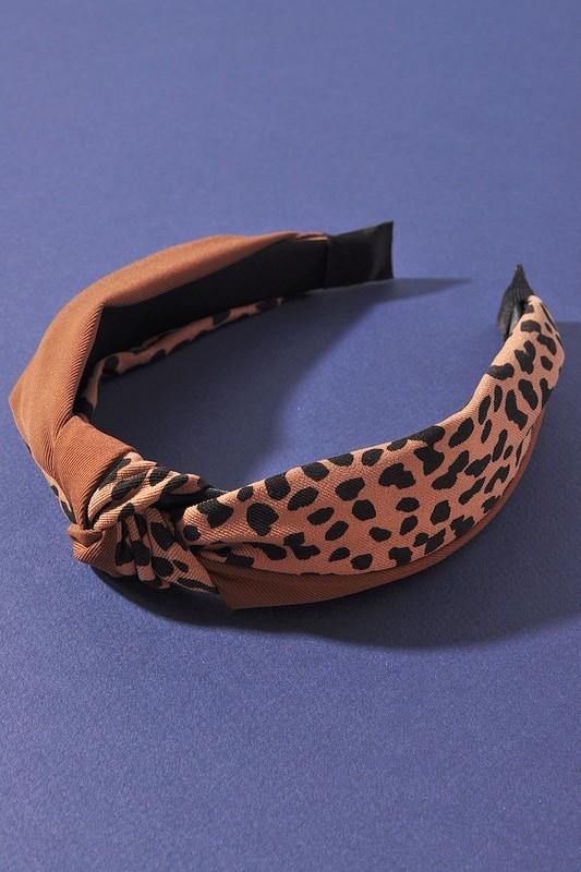 Leesa Brown Leopard Print Knot Headband