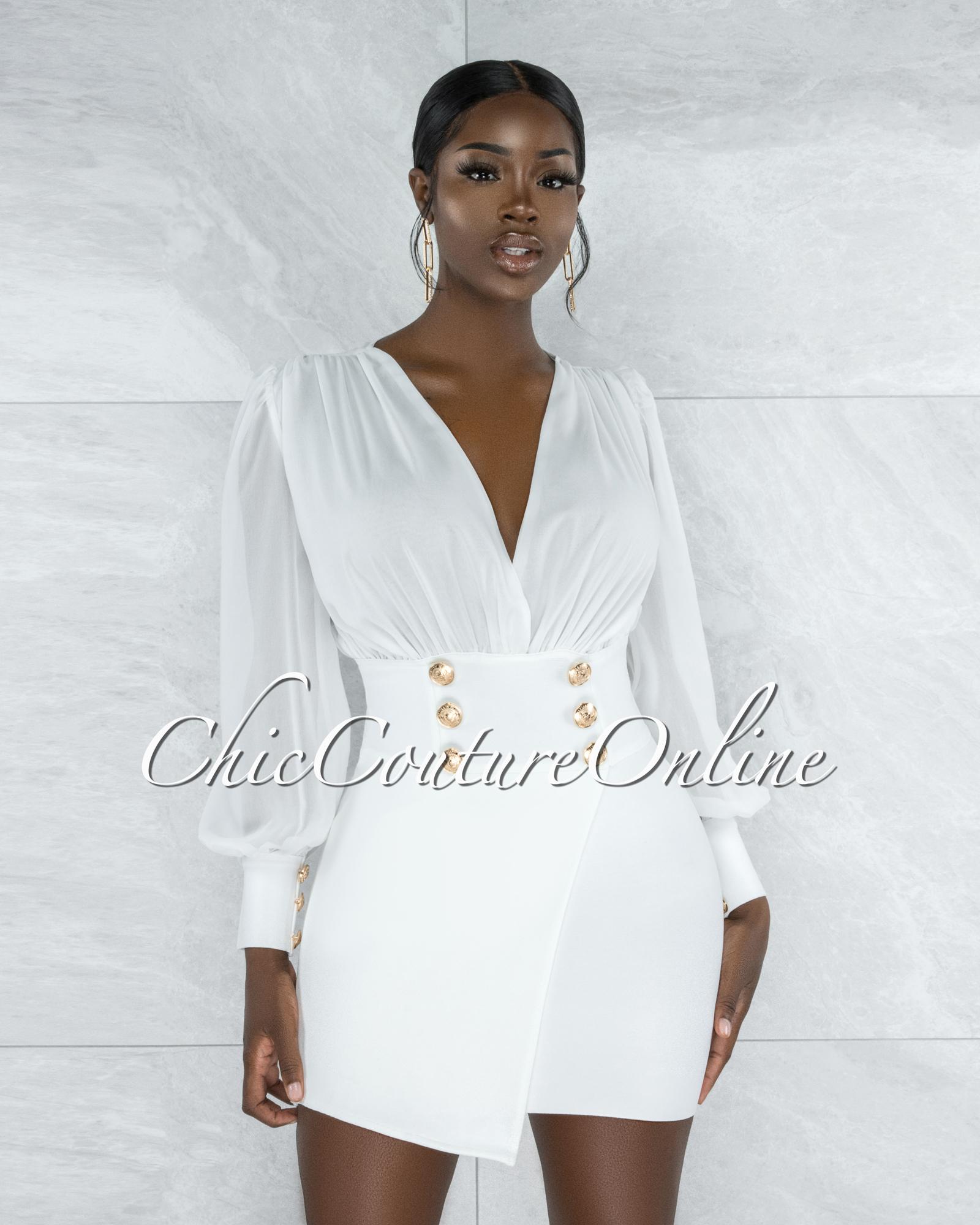 Boaz White Semi-Sheer Top Gold Buttons Bandage Dress