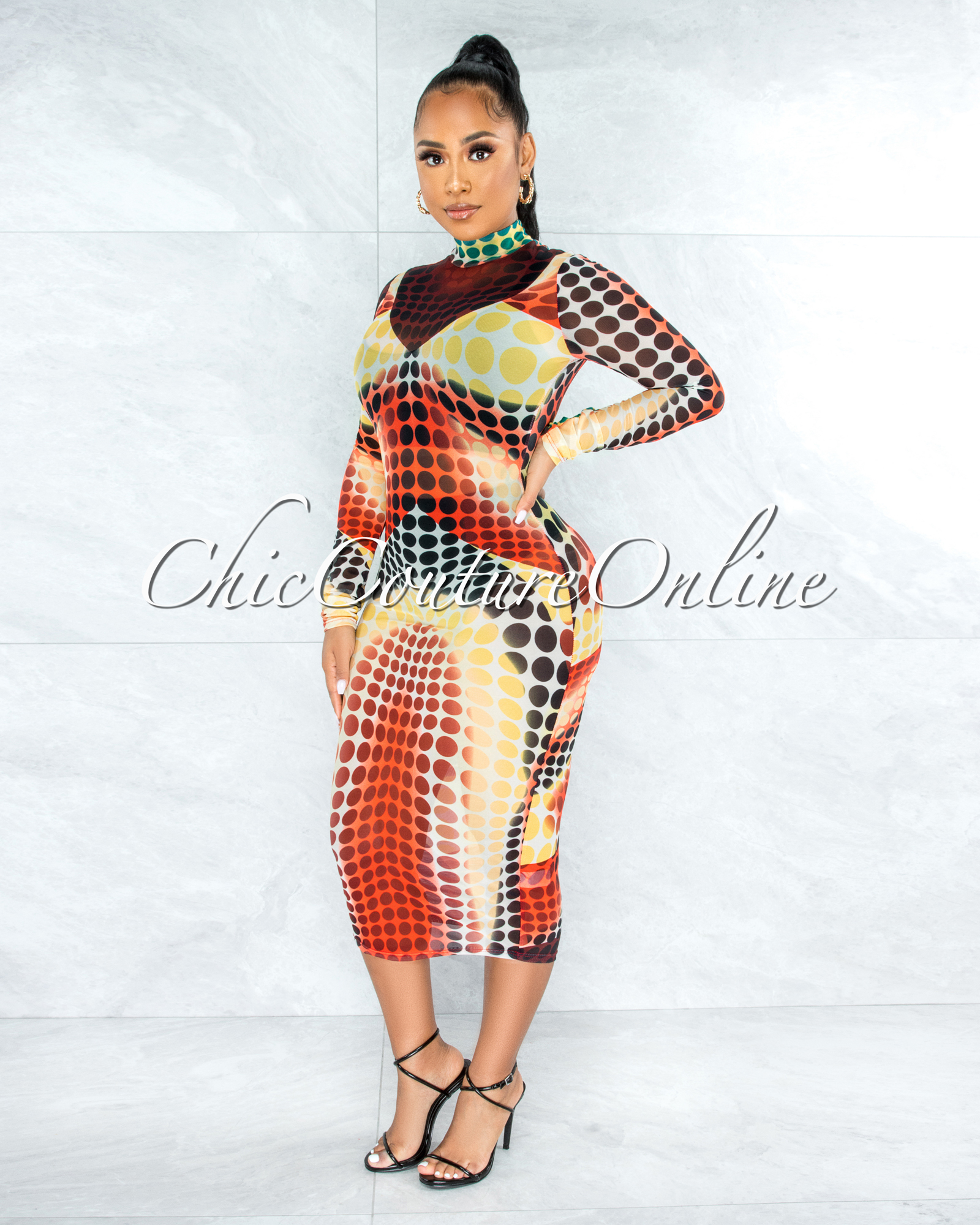 Adrina Yellow Black Dots Print Sheer Mesh Dress