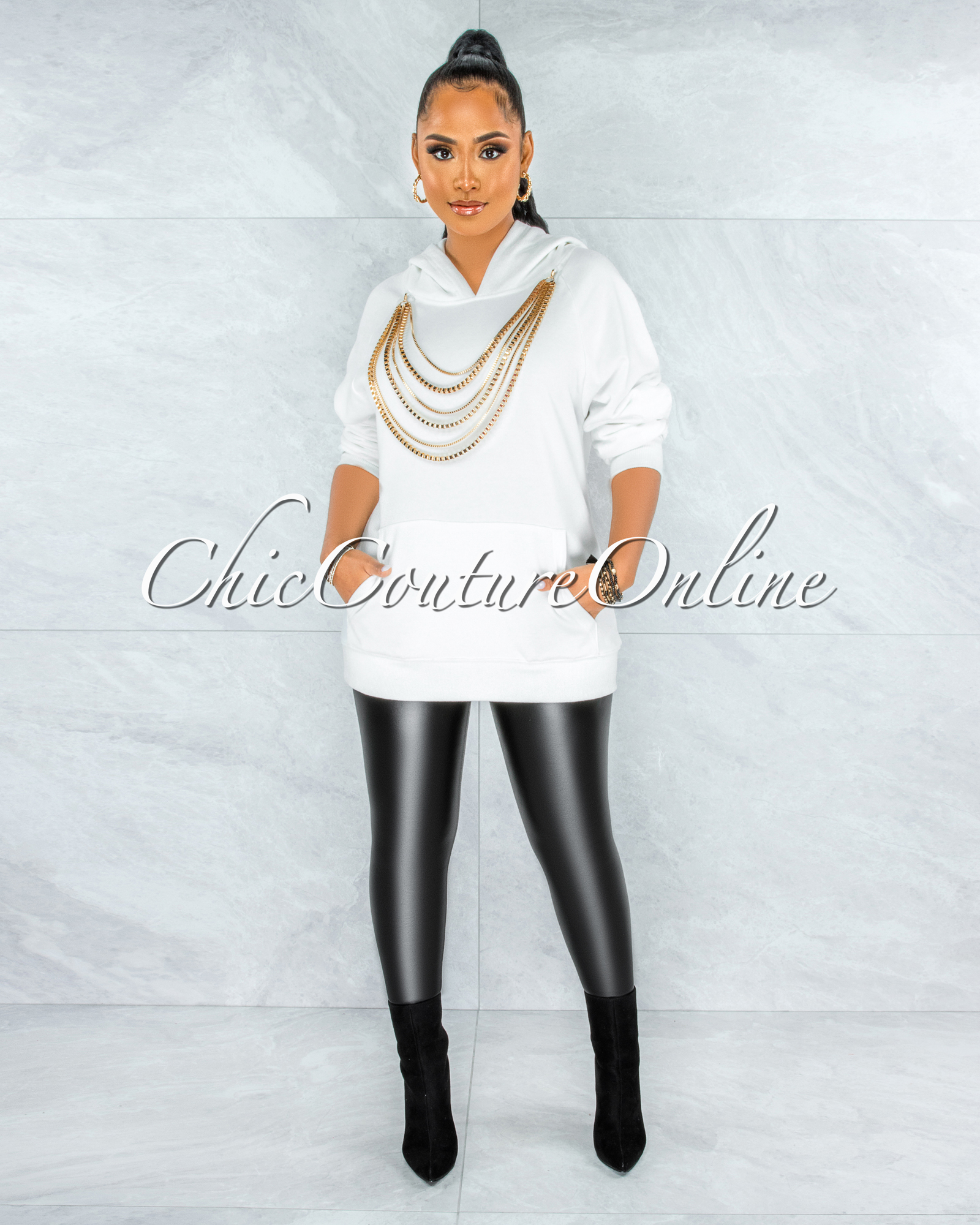 Gimle Off-White Gold Layered Link Detail Hooded Sweater