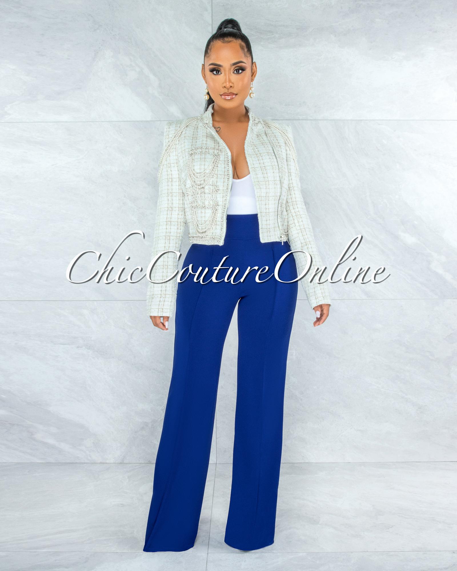 Zabel Cream Pearl Rhinestones Décor Tweed Luxe Jacket