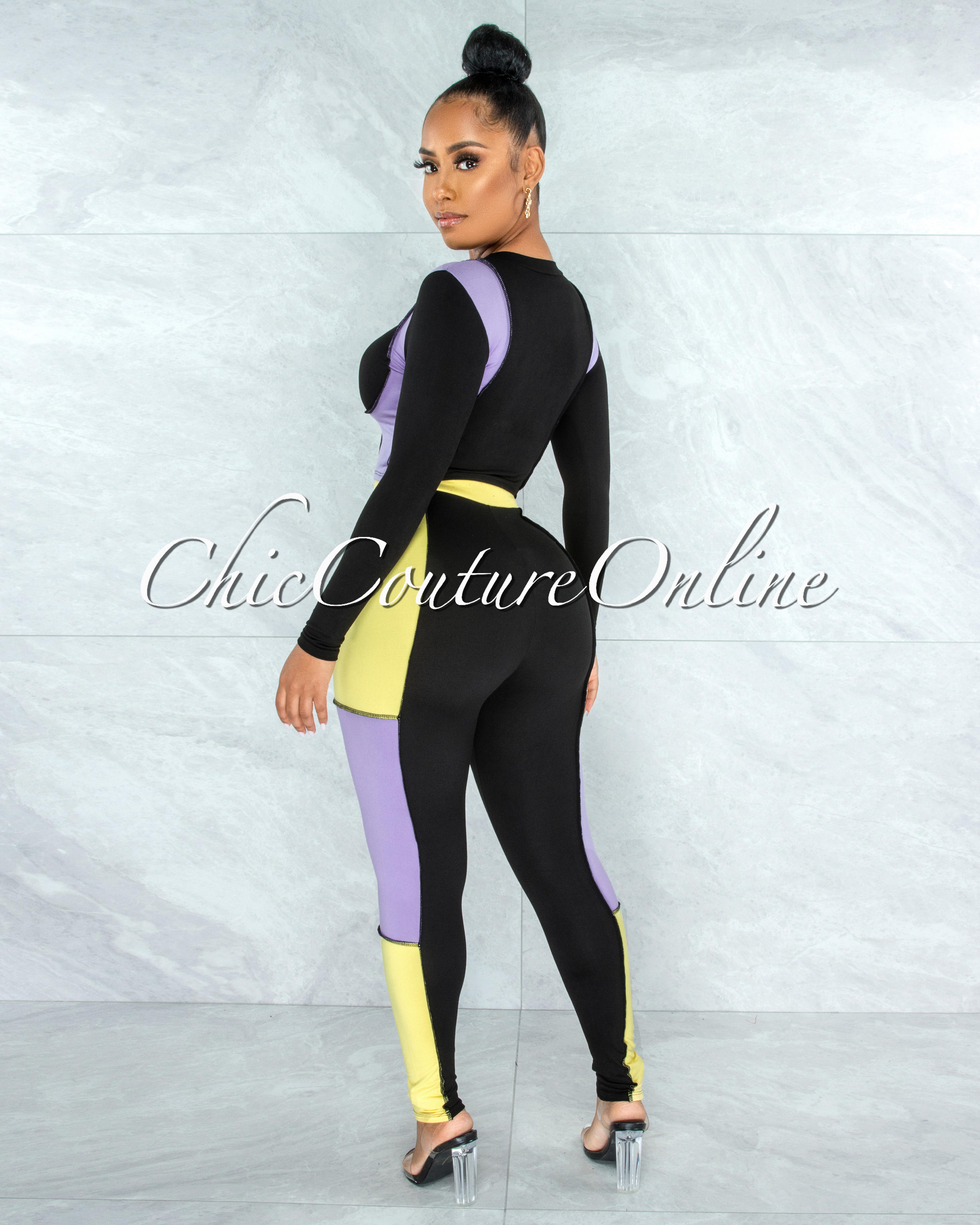 Kizza Black Lilac Yellow Trim Two Piece Sporty Set