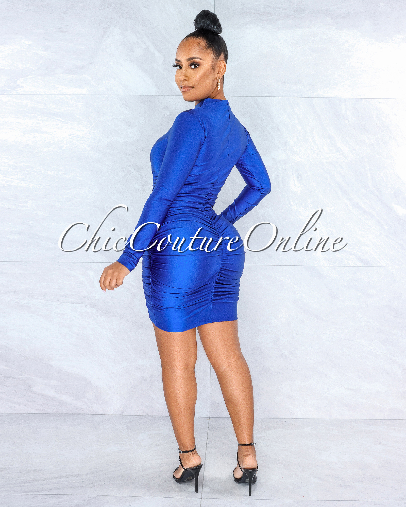Abiel Royal Blue Ruched Sides Long Sleeves Mini Dress