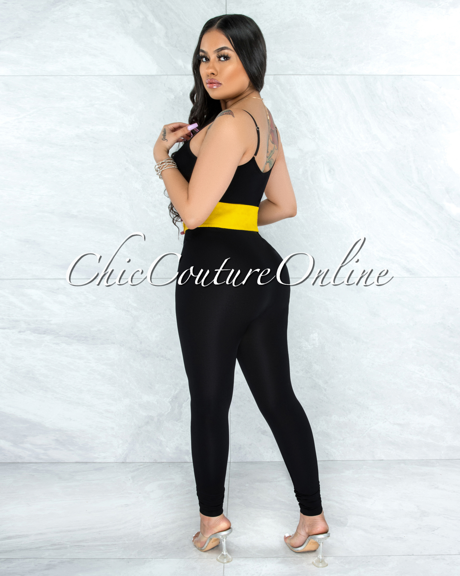 Fidelia Mustard Yellow Faux Suede LEATHER O-Ring Belt