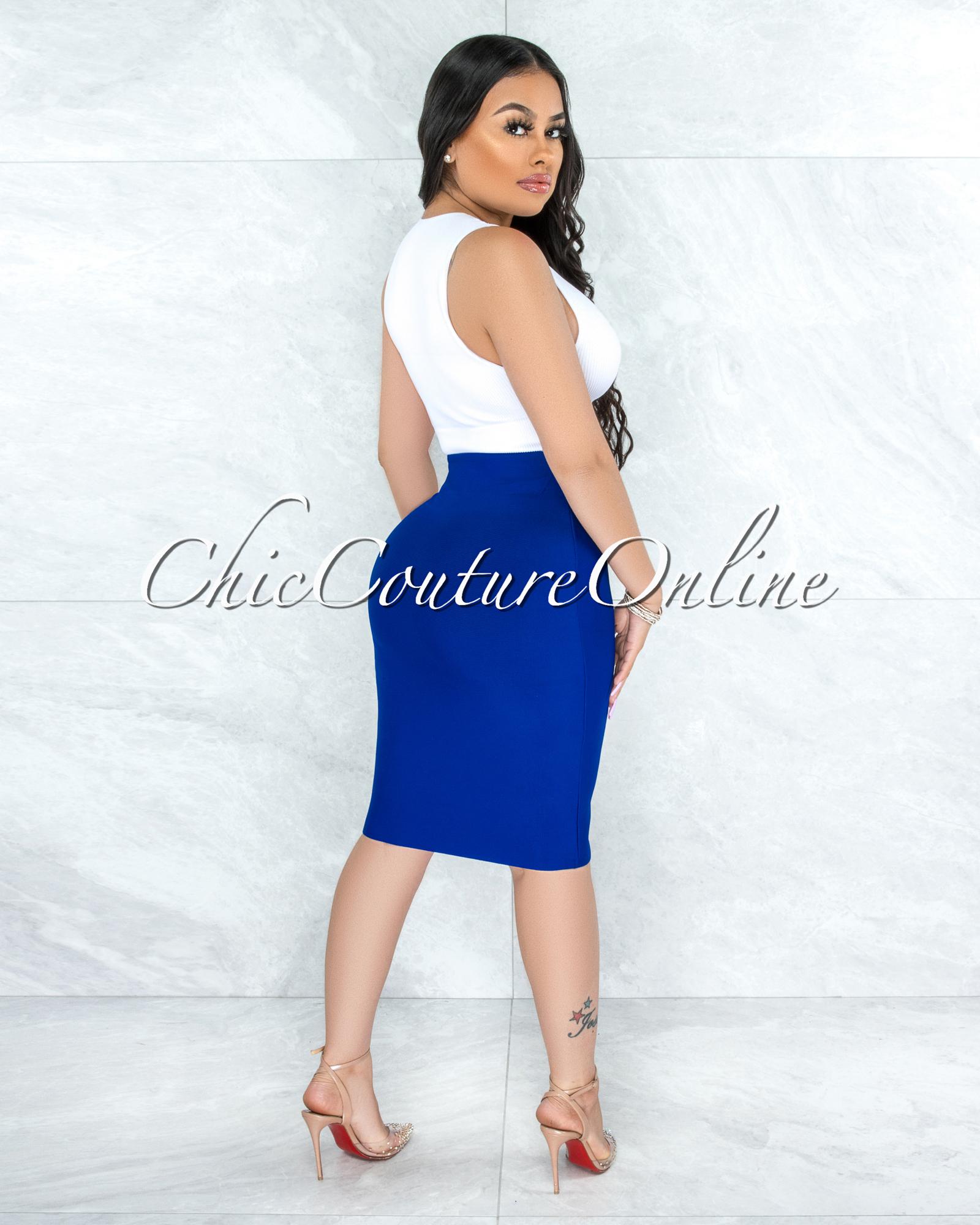 Joseph Royal Blue Elastic Bandage Skirt