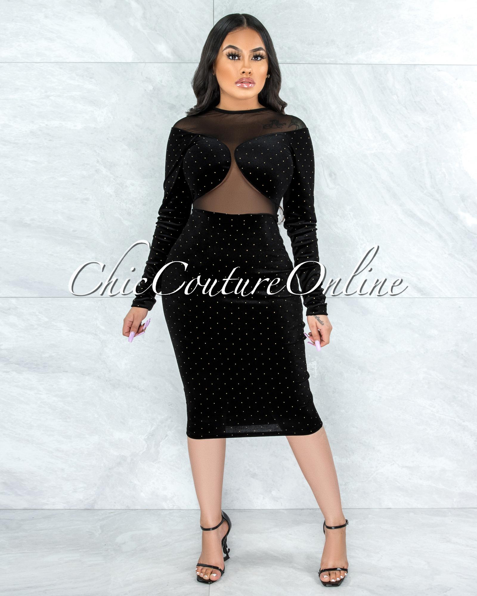 Donnie Black Gold Studs Velvet Sheer Mesh Midi Dress
