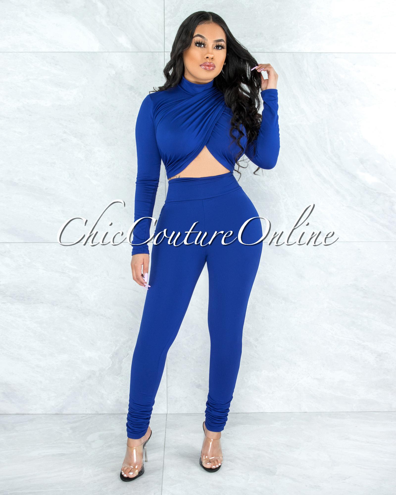 Casielle Royal Blue Drape Double Lined Top & Leggings Set