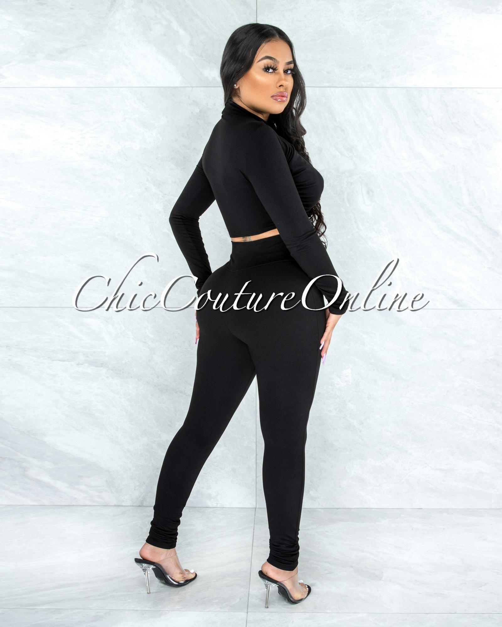 Casielle Black Drape Double Lined Top & Leggings Set