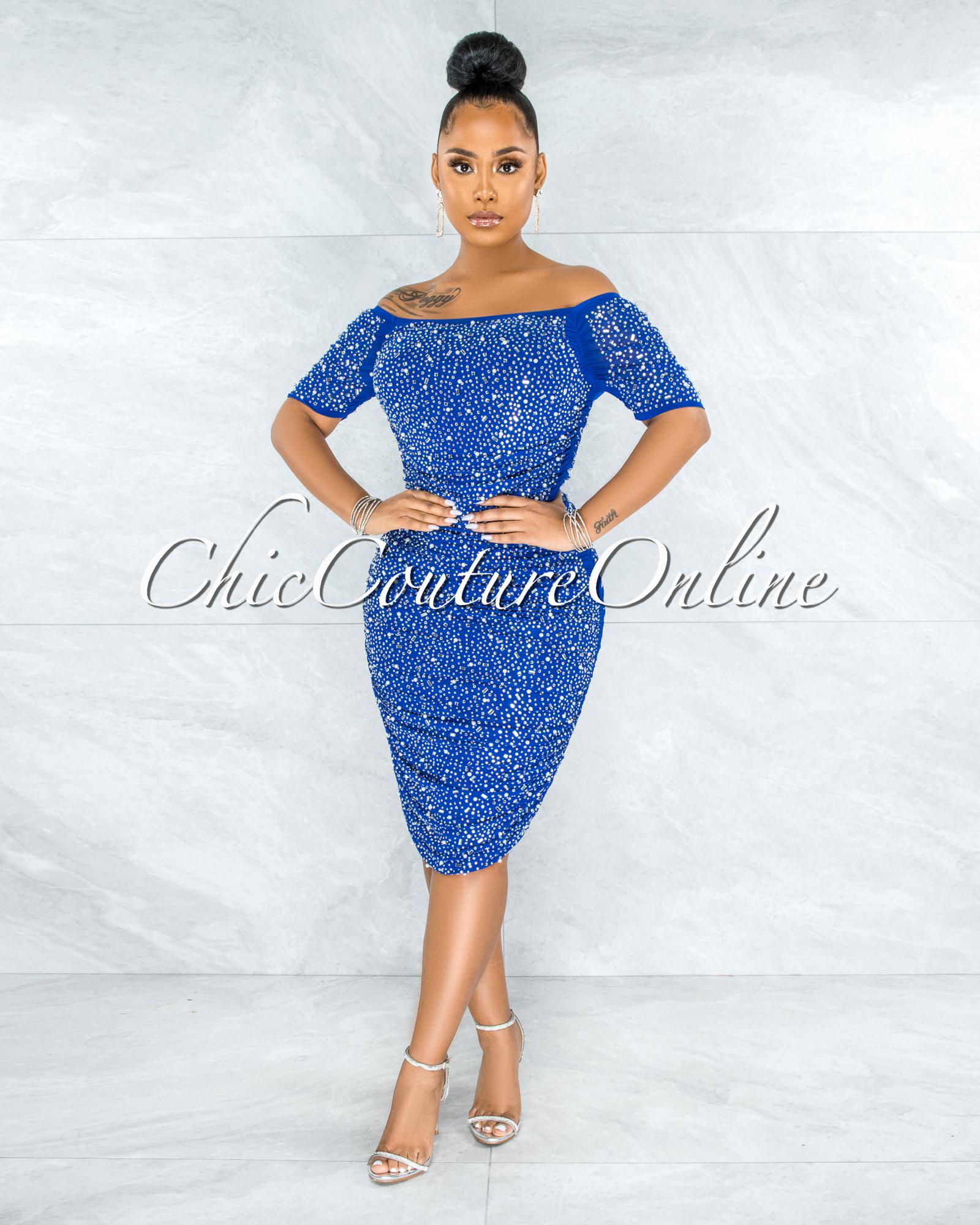 Berangari Royal Blue Rhinestones Bodice Ruched Dress