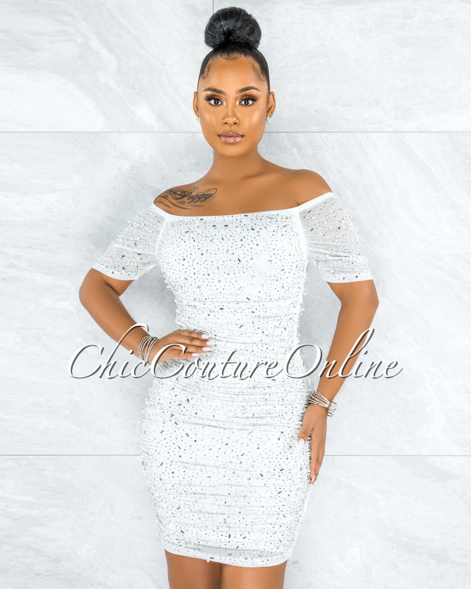 Berangari Off-White Rhinestones Bodice Ruched Dress