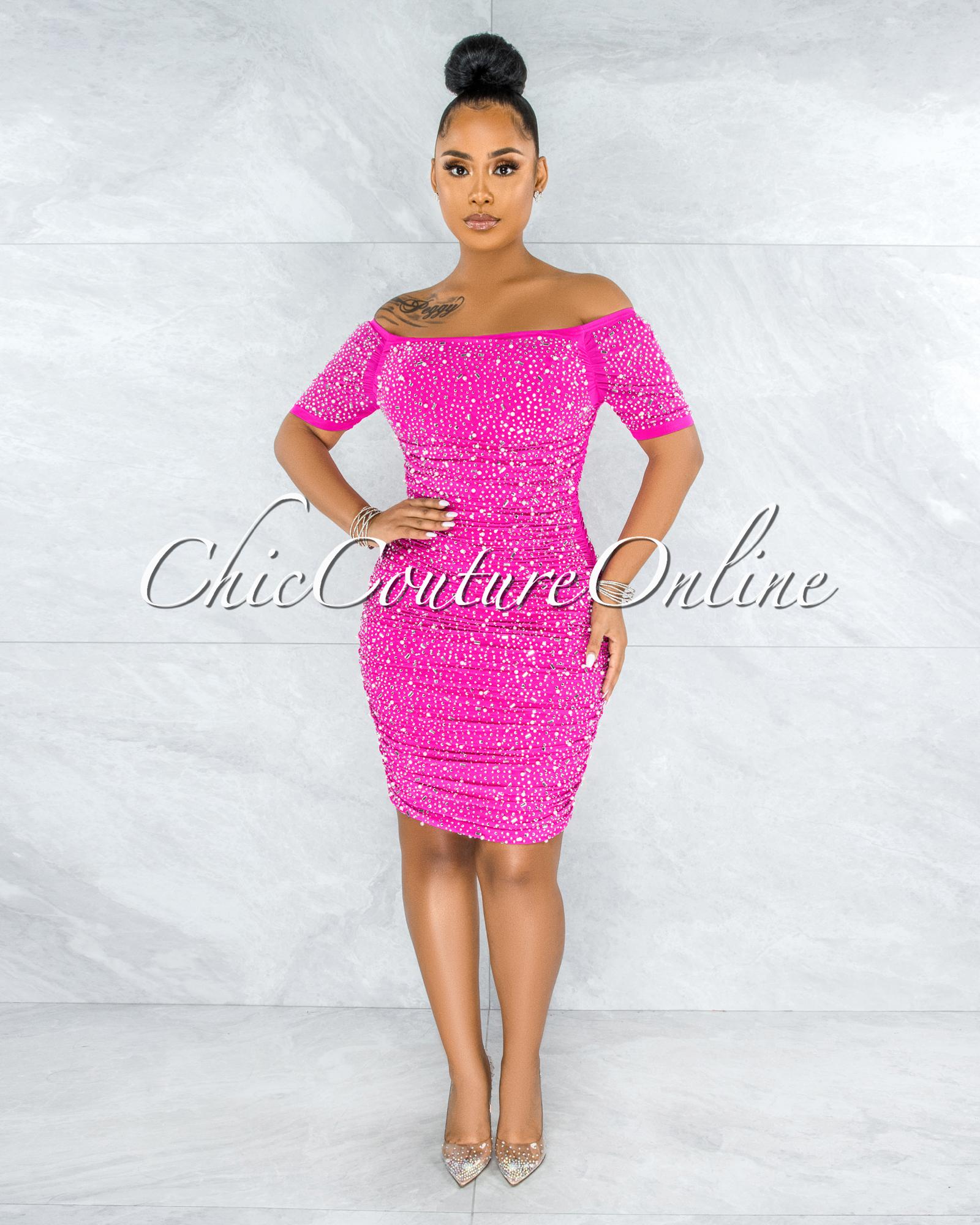 Berangari Hot Pink Rhinestones Bodice Ruched Dress