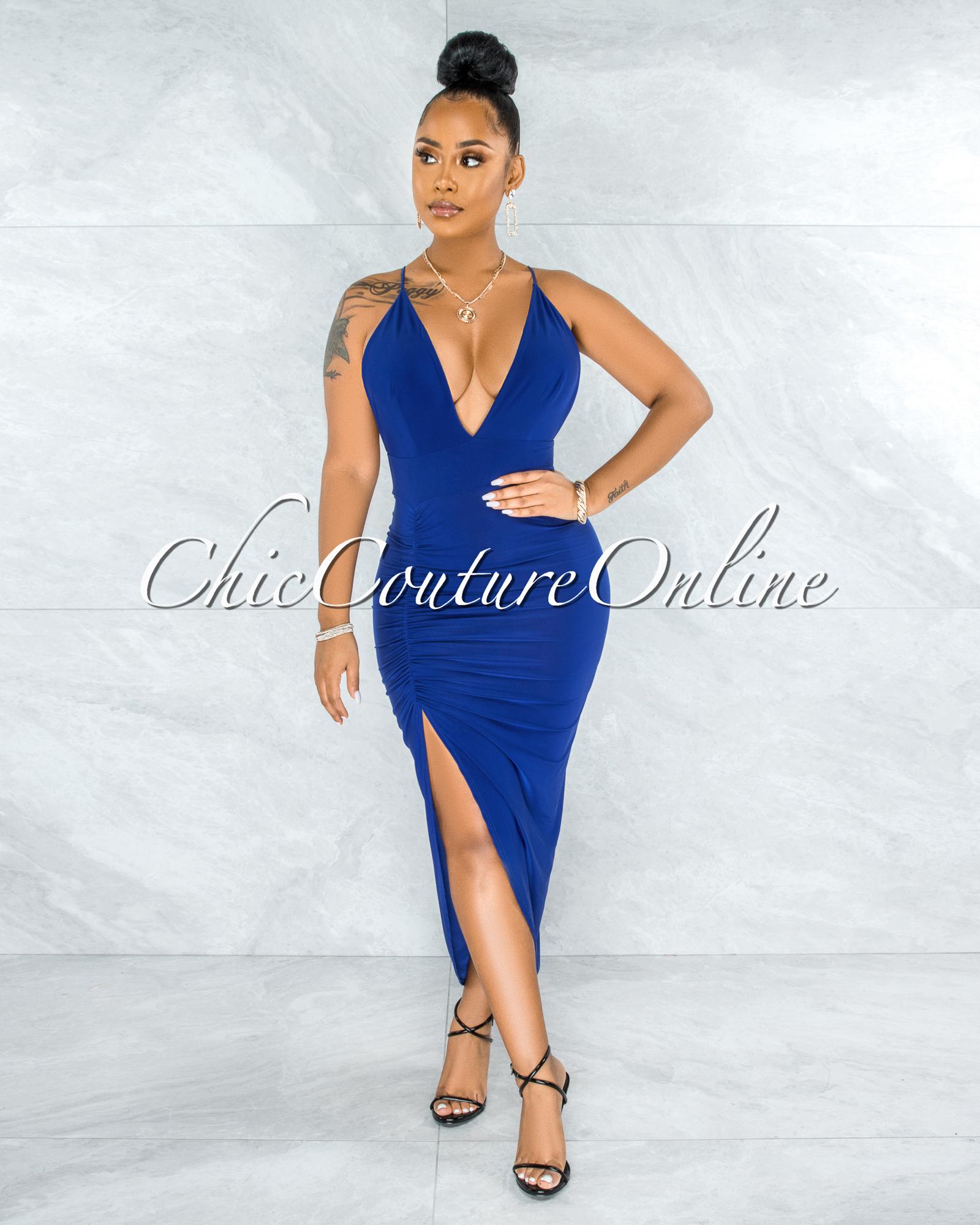 Eneas Royal Blue Draped Slit Low Back Midi Dress