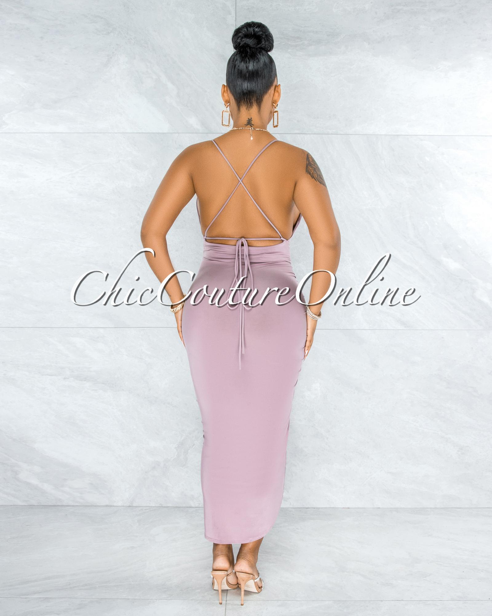 Eneas Mauve Draped Slit Low Back Midi Dress