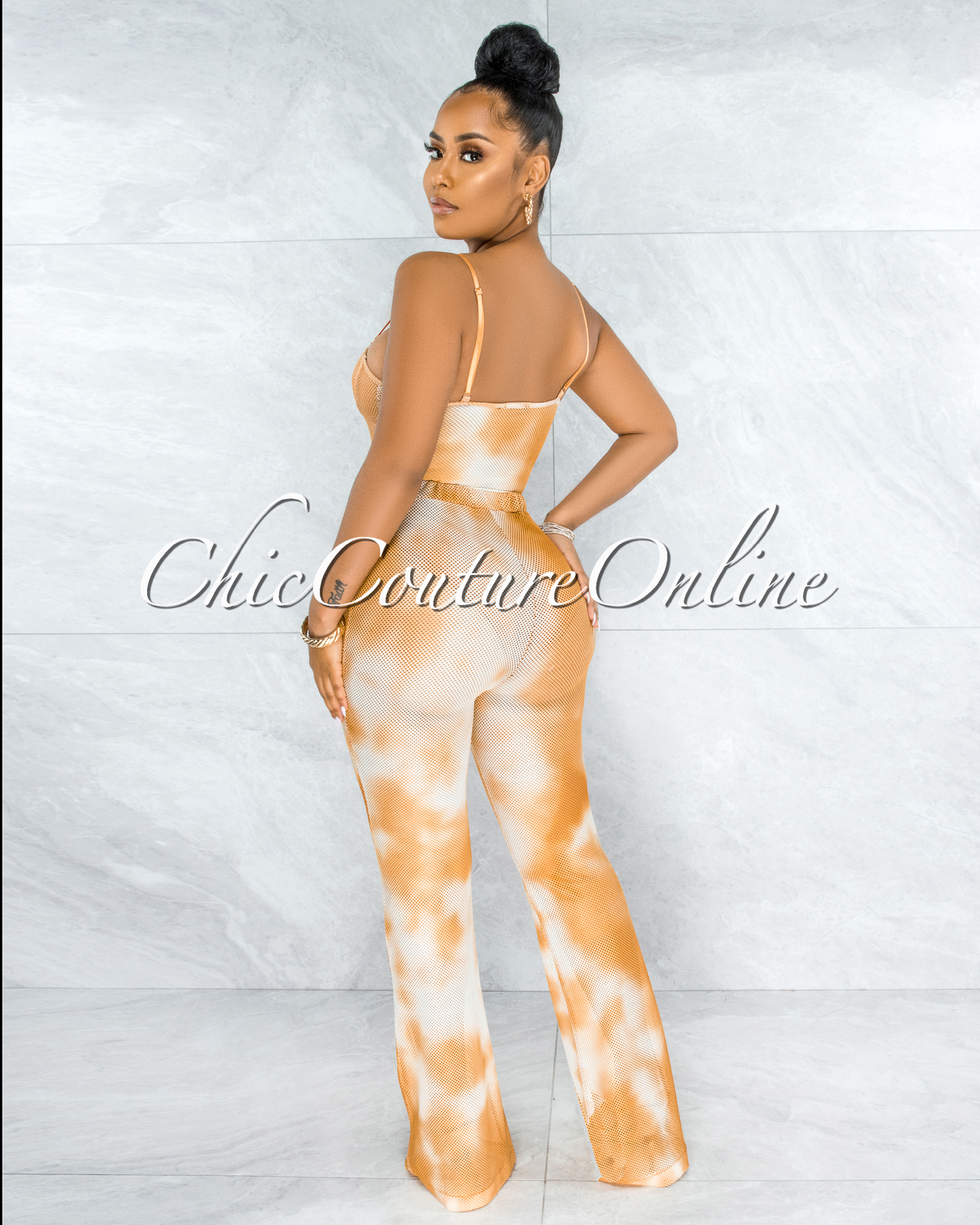 Baghel Mustard White Tie-Dye Mesh Two Piece Bodysuit Set