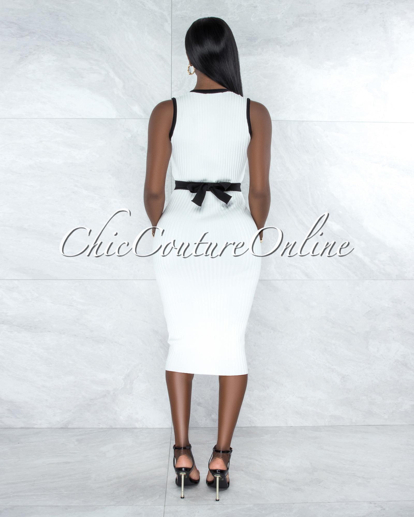 Husani Off-White Black Trim Ribbed Midi Dress