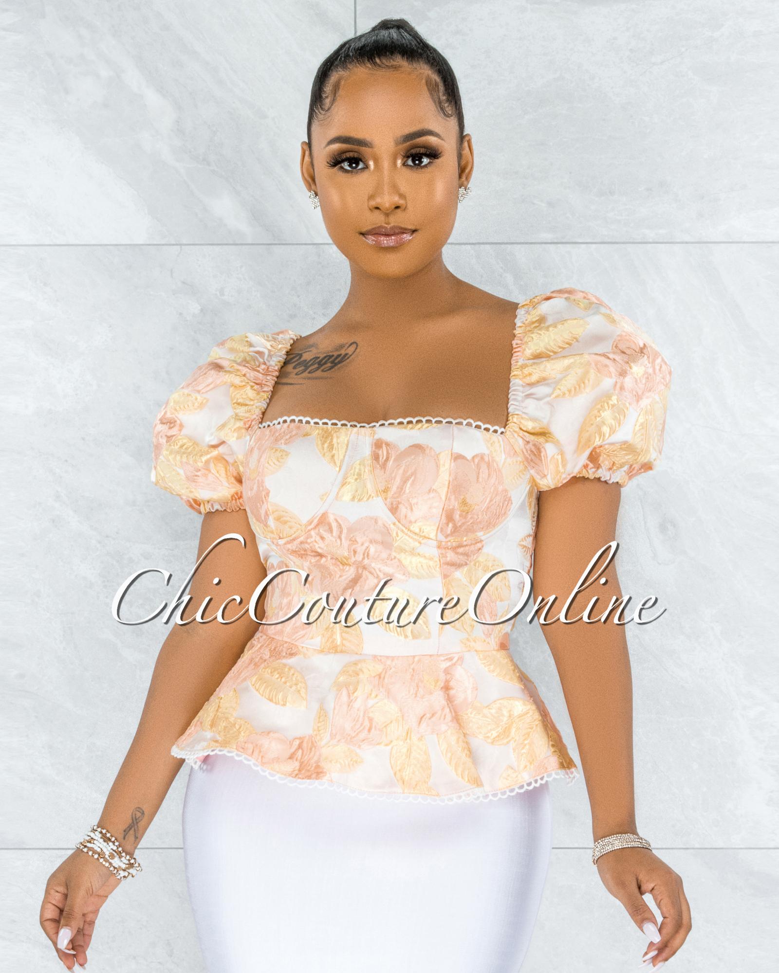 Qusay Peach Floral Print Satin Lace-Up Corset Top