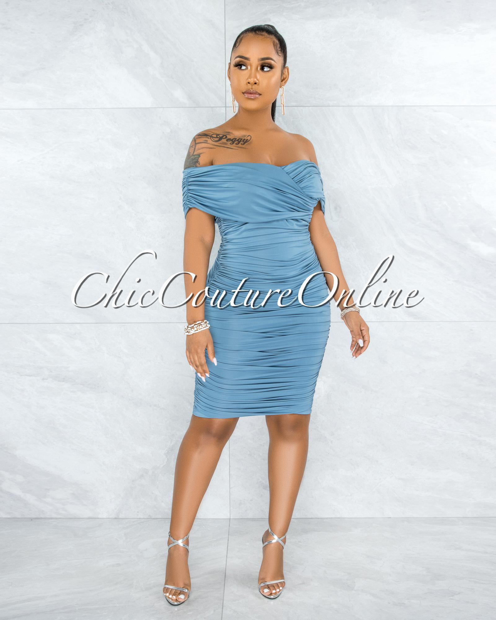 Taraneh Steel Blue Draped Crossed Neckline Midi Dress