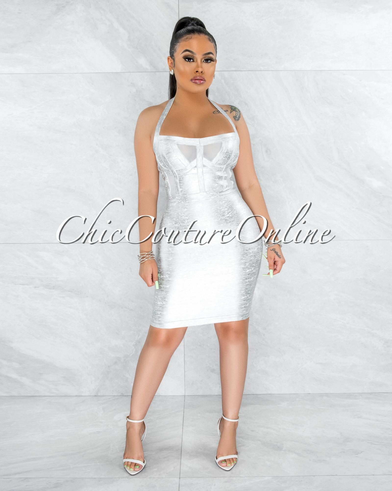 Artha White Silver Foil Mesh Details Bandage Dress