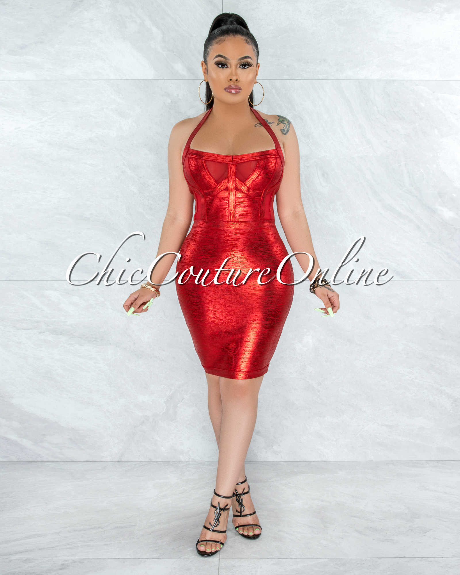 Artha Red Foil Mesh Details Bandage Dress