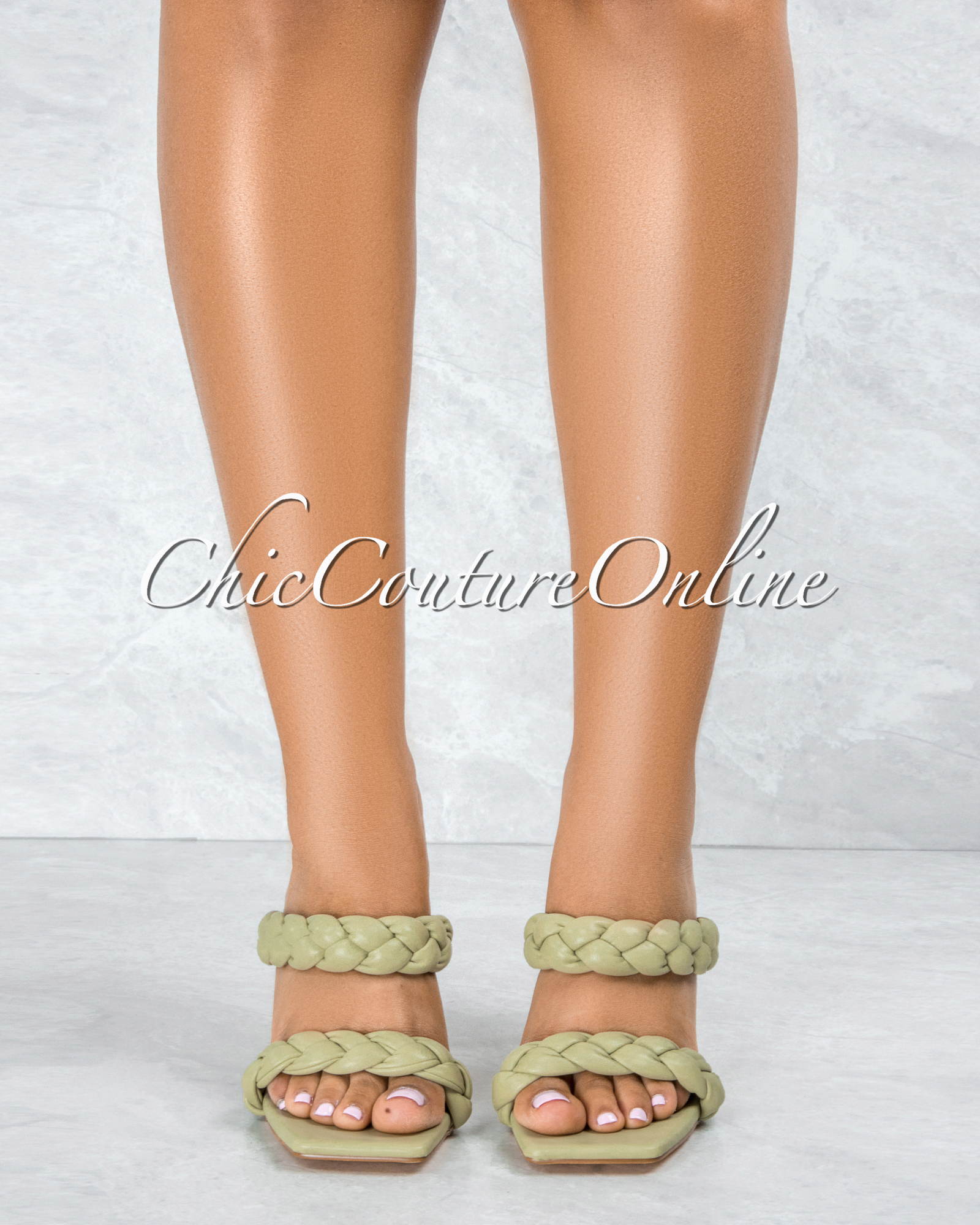 Jessy Sage Double Braided Upper Square Toe Heels