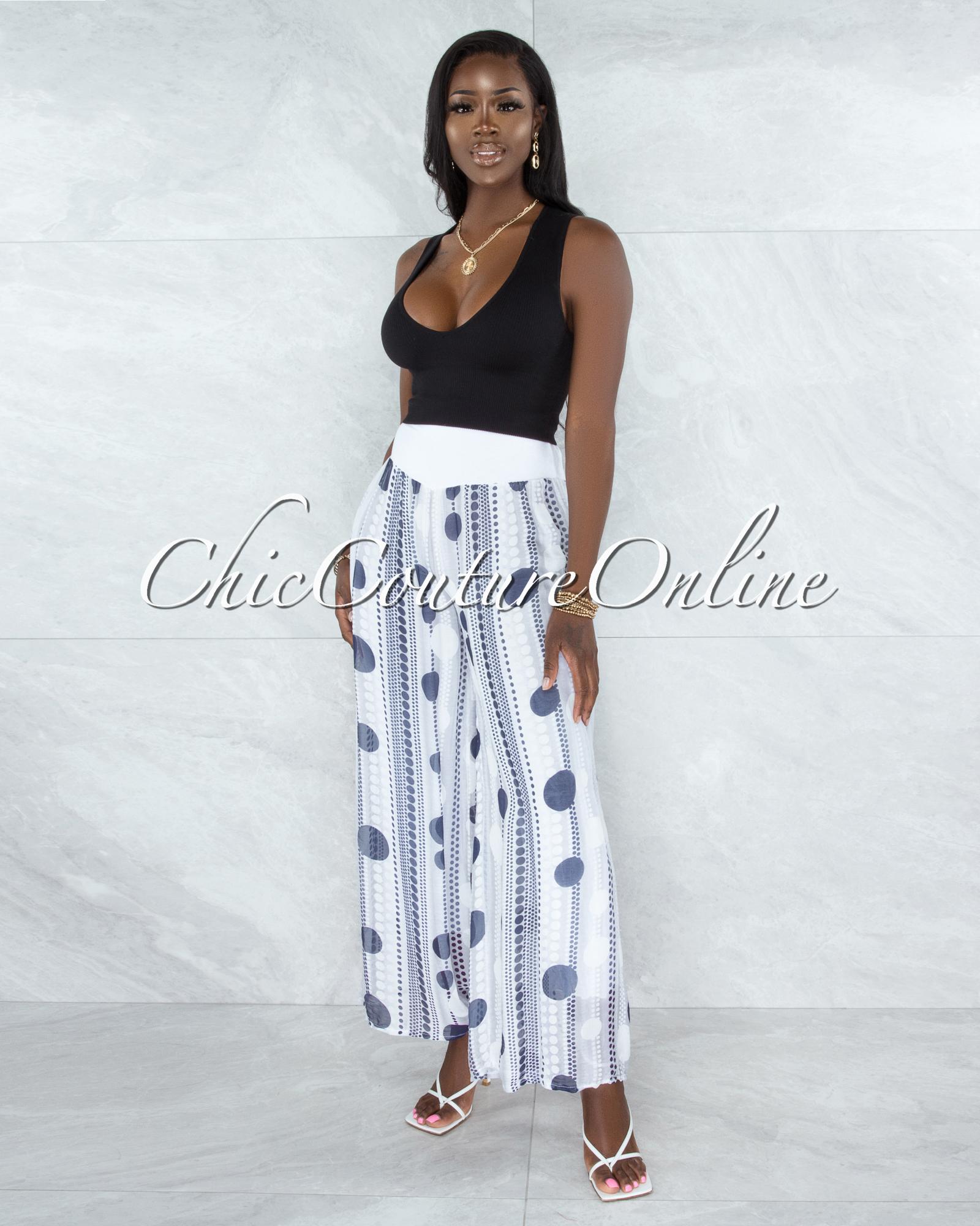 Chanan Off-White Grey Polka Dots Wide Legs Waistband Pants