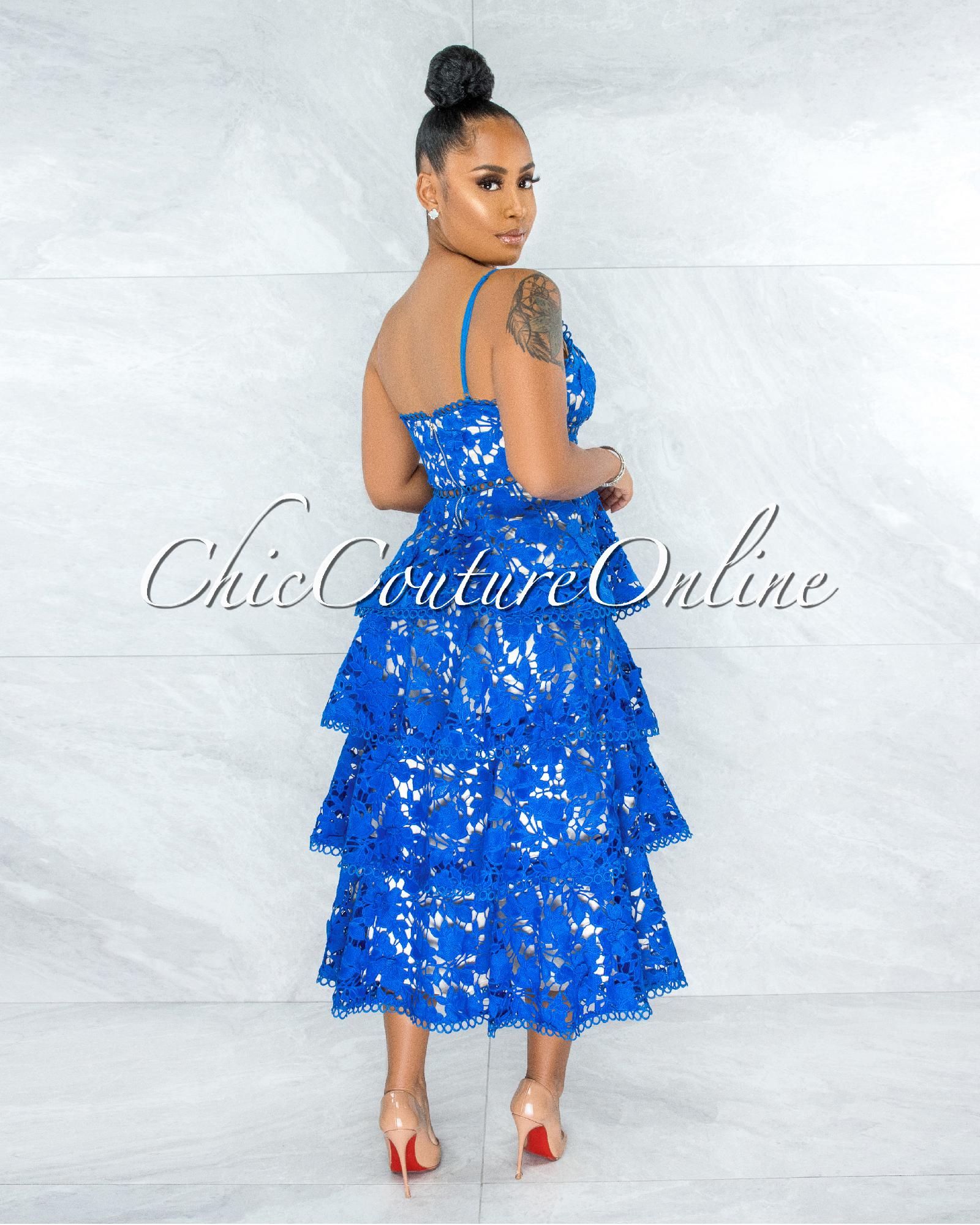 Evangelina Royal Blue Nude Illusion Crochet Ruffle Hem Dress