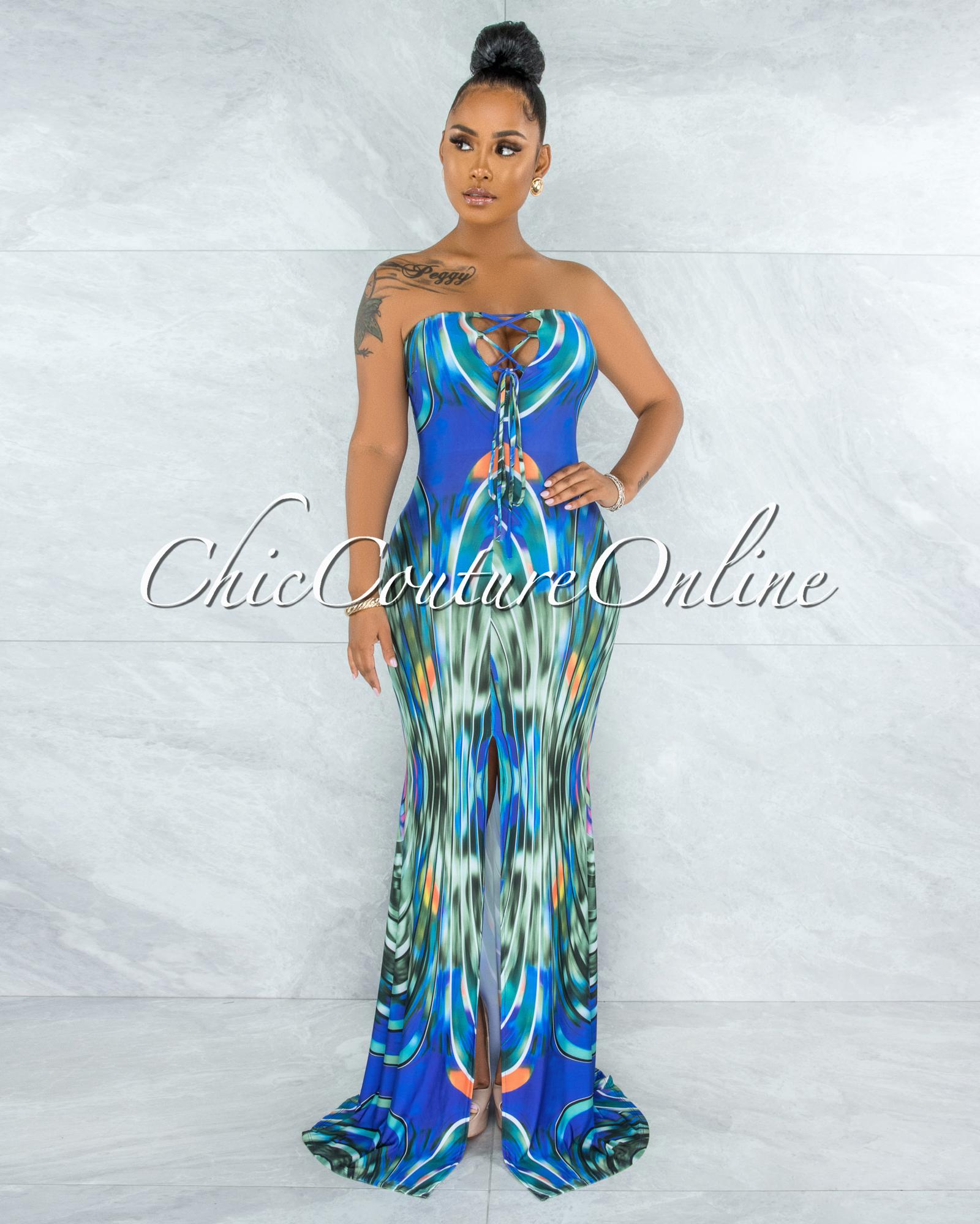 Dart Blue Multi-Color Print Lace-Up Top Maxi Dress