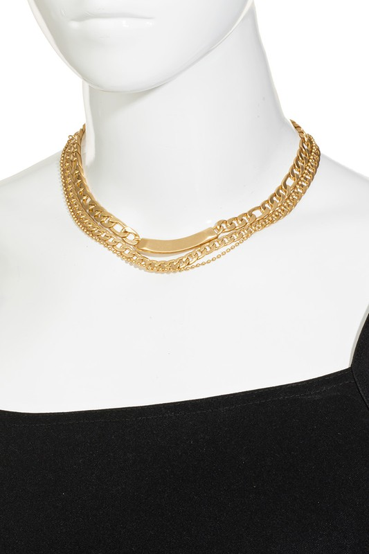 Danna Gold Layered Flat Curb Chain Necklace