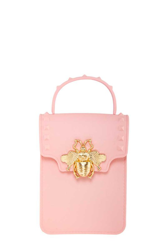 Stephany Pink Gold Bee Decorated Rectangular Jelly Bag