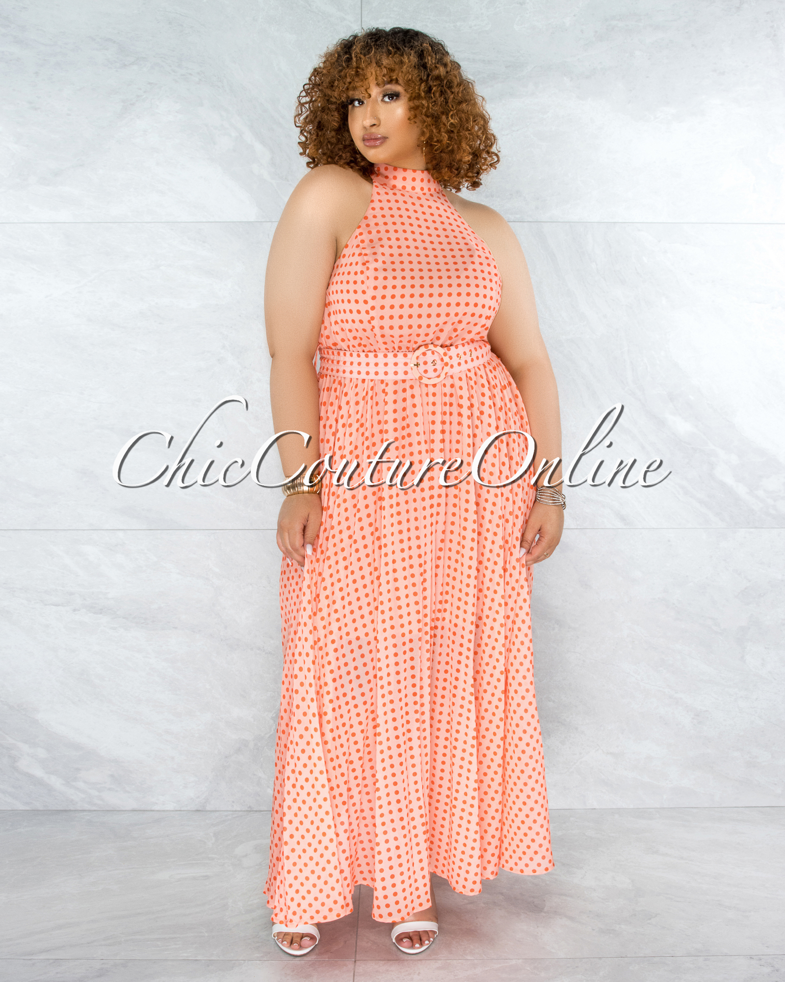 Quella Coral Orange Polka Dots Matching Belt CURVACEOUS Dress