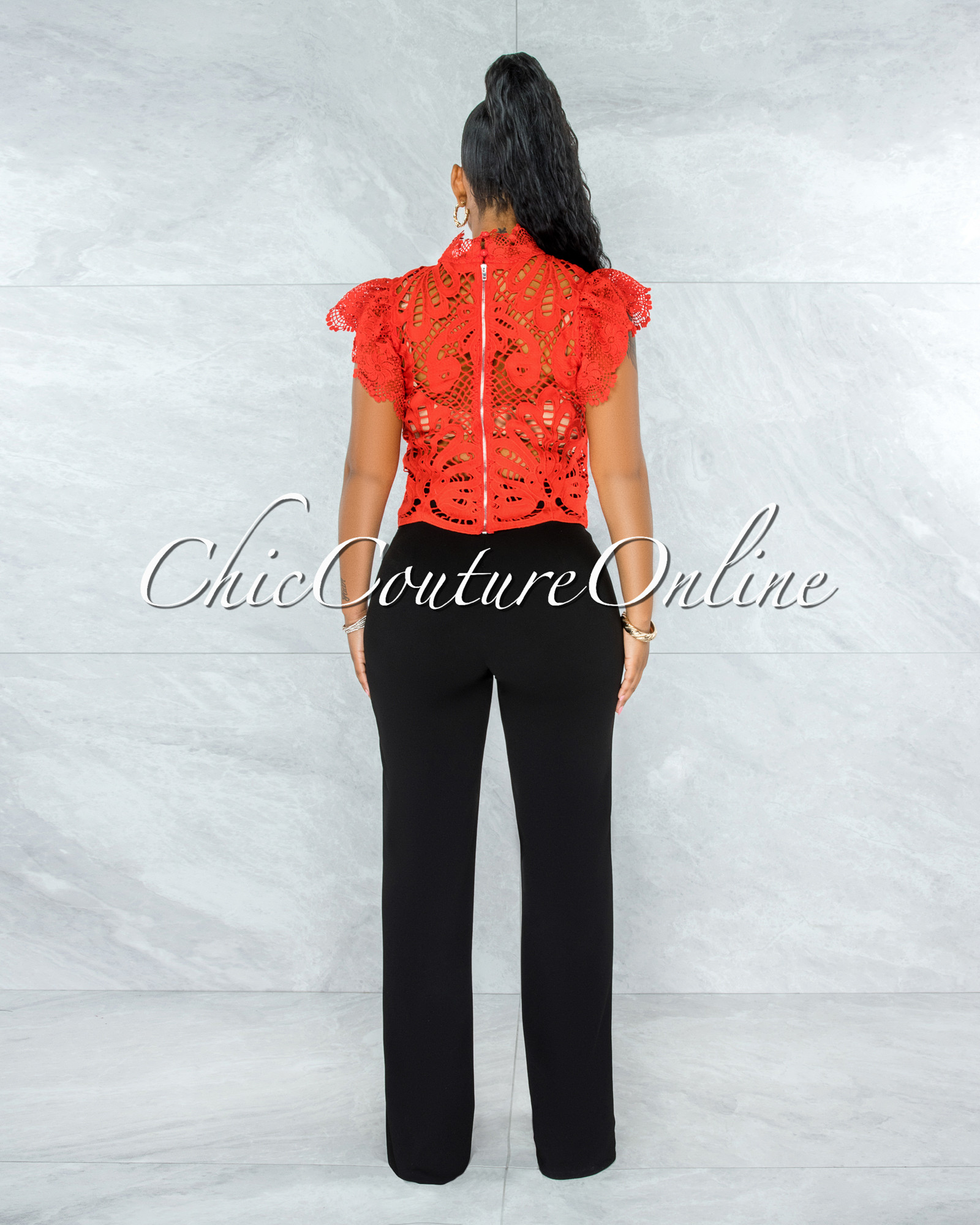 Kimane Red See-Through Crochet Ruffle Sleeves Top
