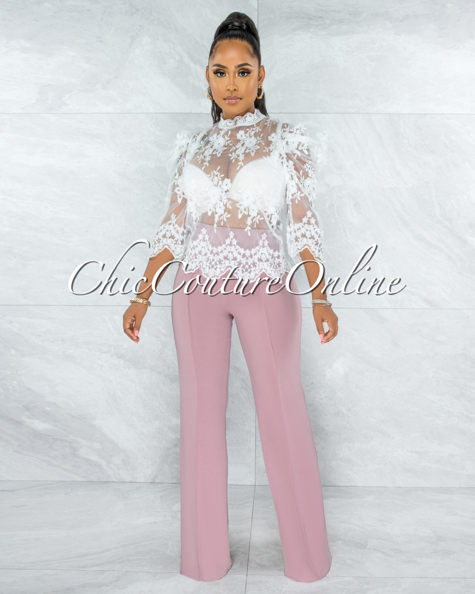 Bethany White Lace Puffy Sleeves Sheer Top