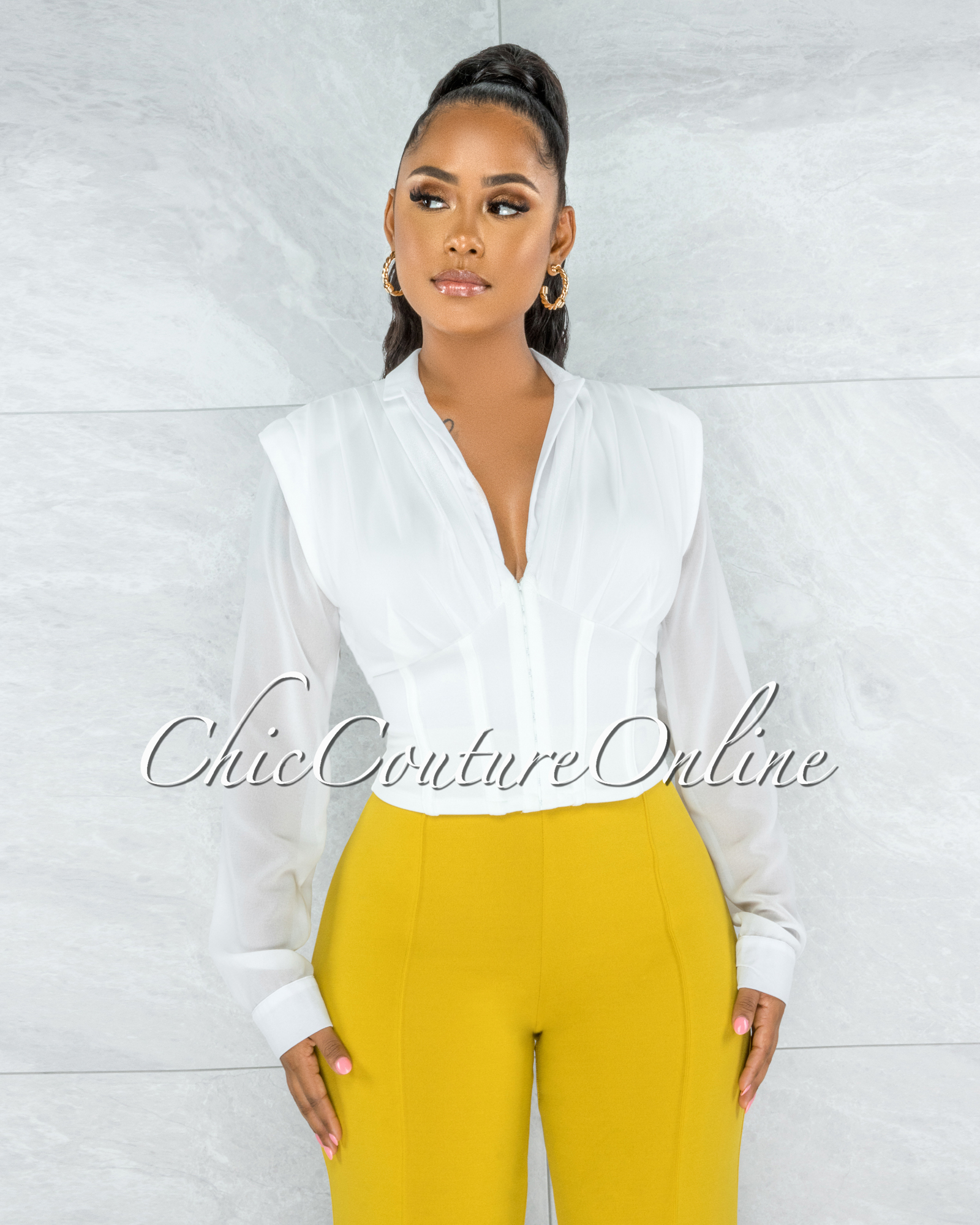 Mava Off-White Sheer Sleeves Corset Top