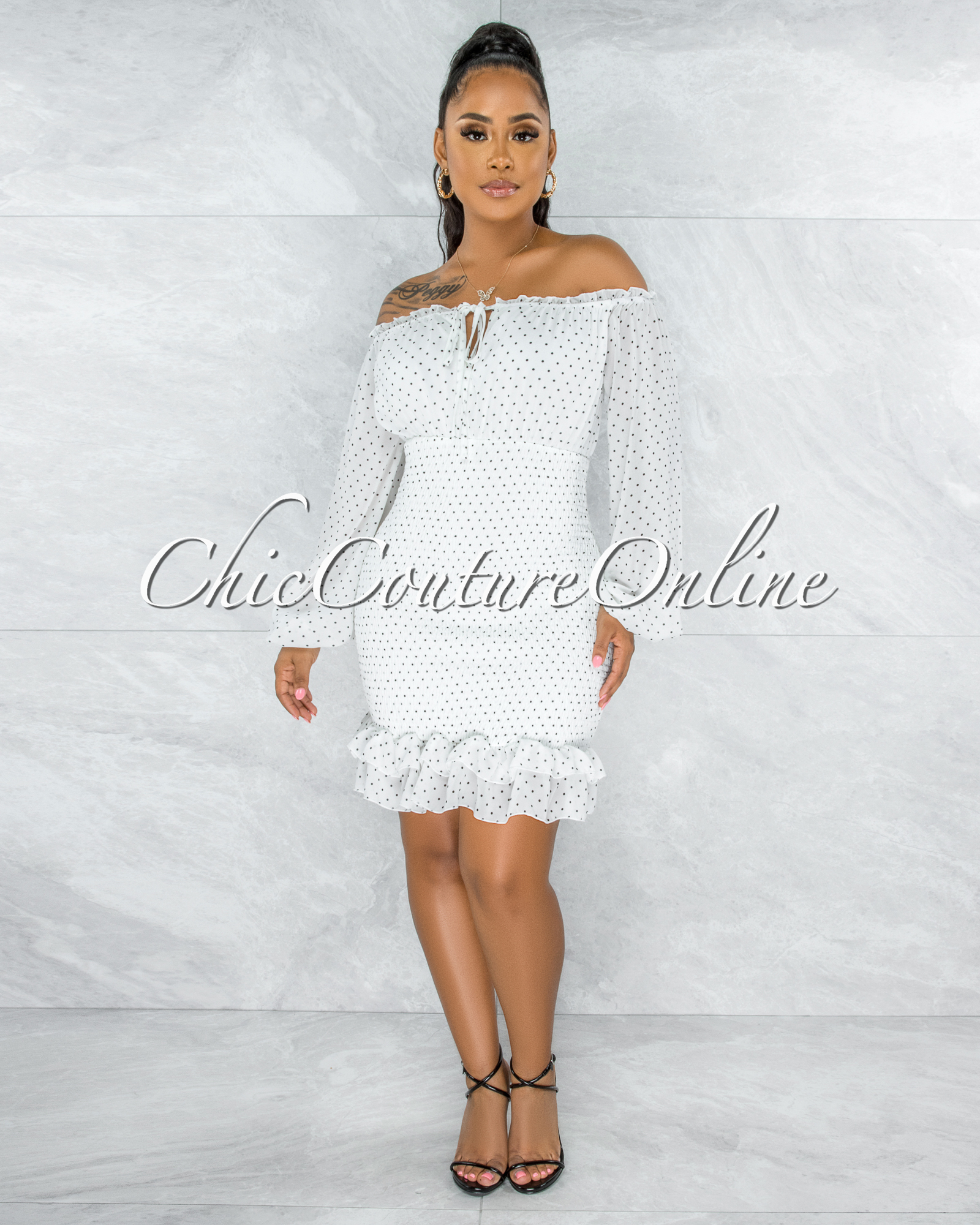 Jiselle Off-White Black Polka Dots Smocked Ruffle Dress