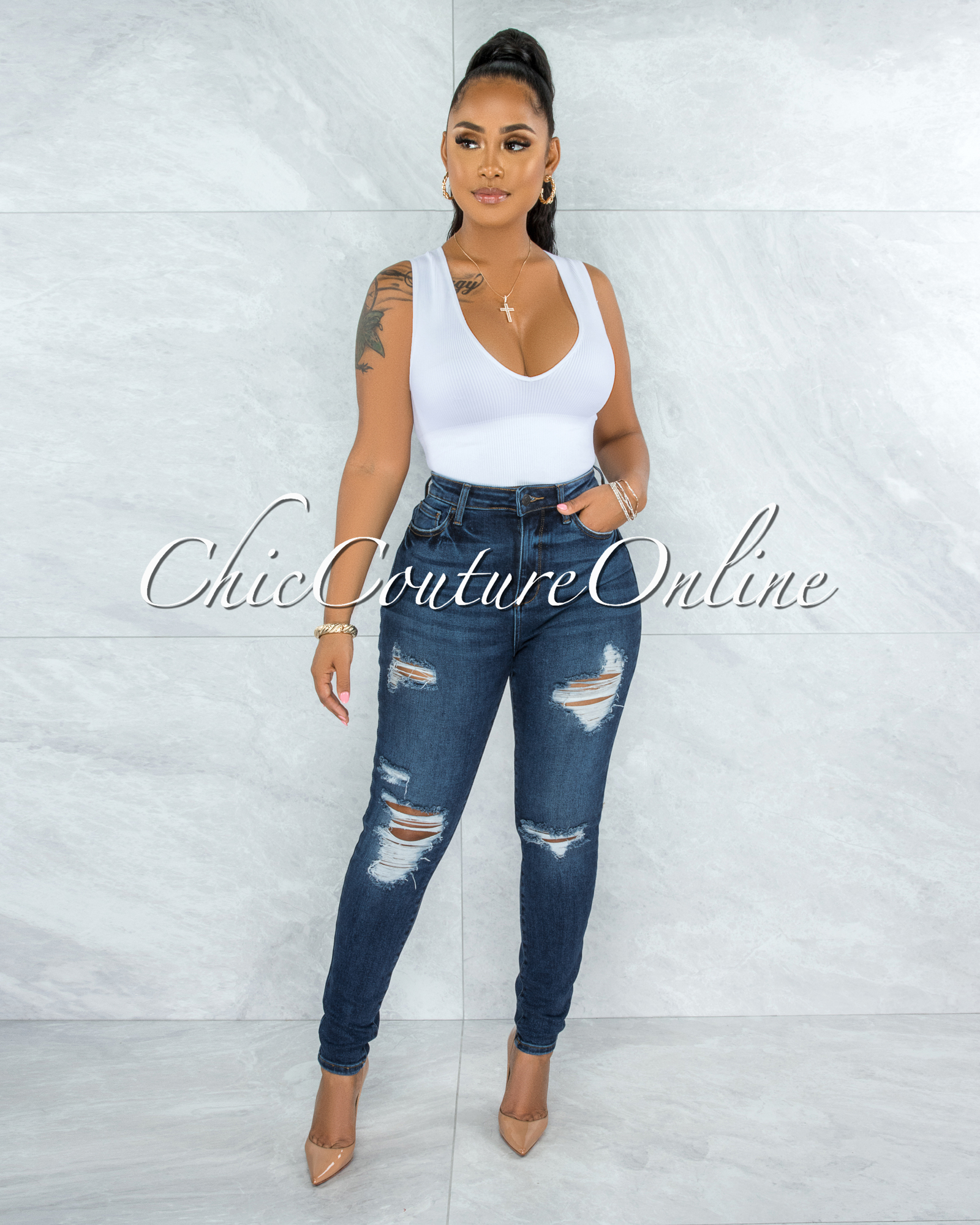 Javas Dark Denim High-Waist Distressed Skinny Jeans
