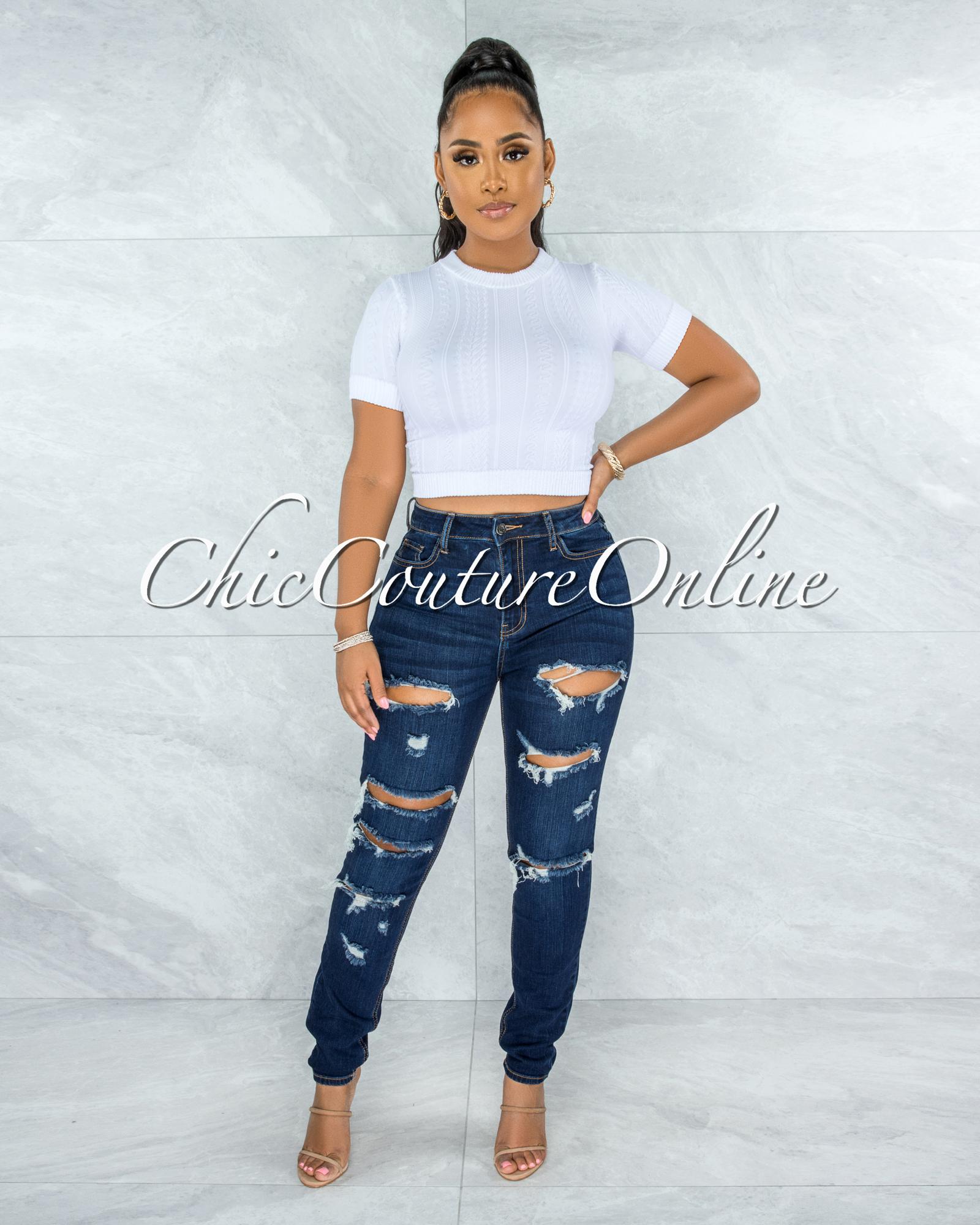Mediana Dark Denim High-Waist Distressed Skinny Jeans