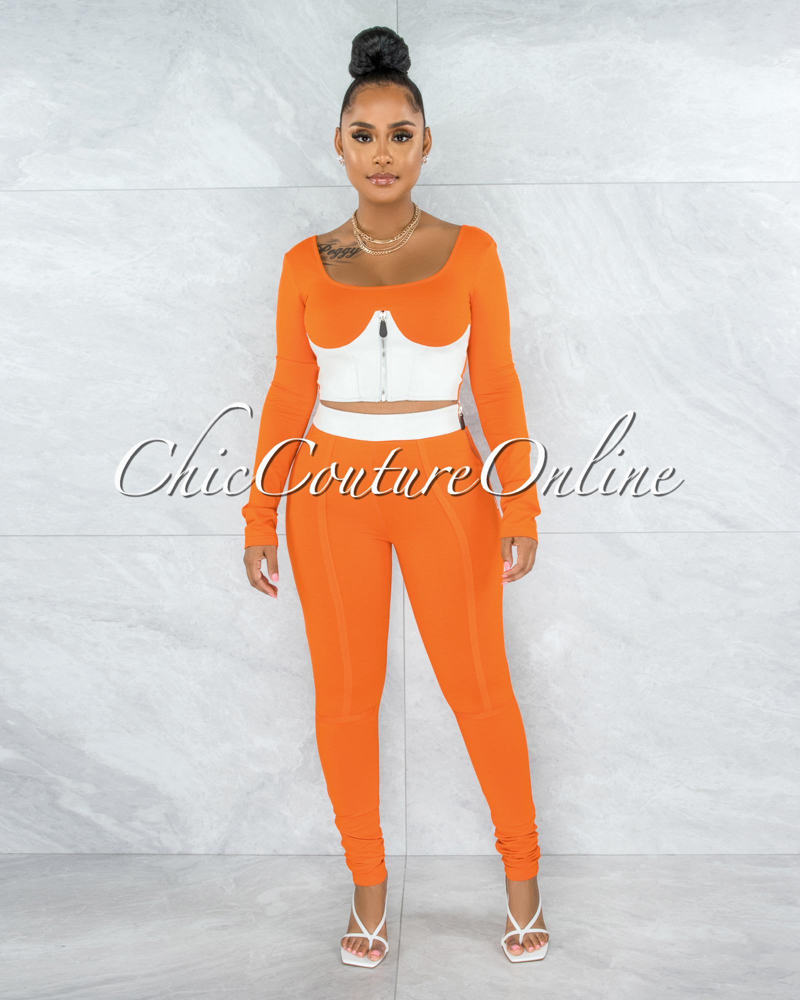 Enedina Orange White Faux Leather Two Piece Set